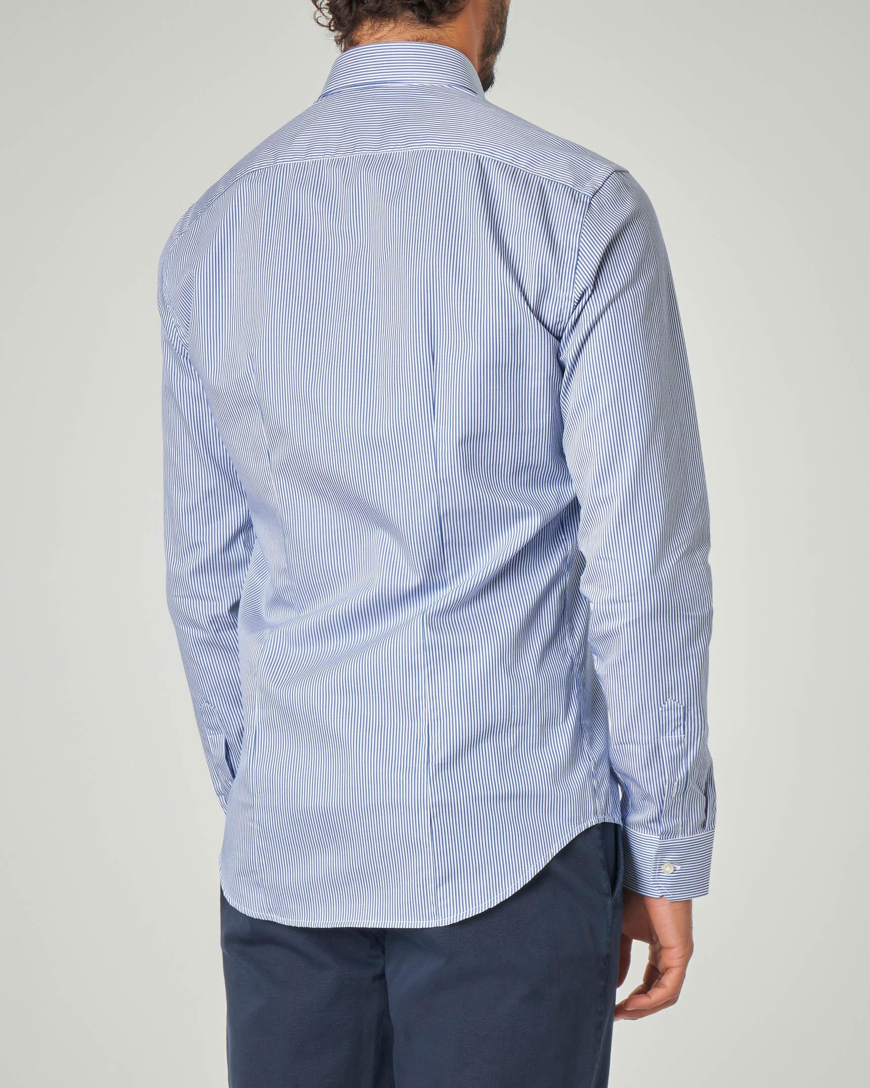 Camicia bastoncino bianco blu in twill di cotone