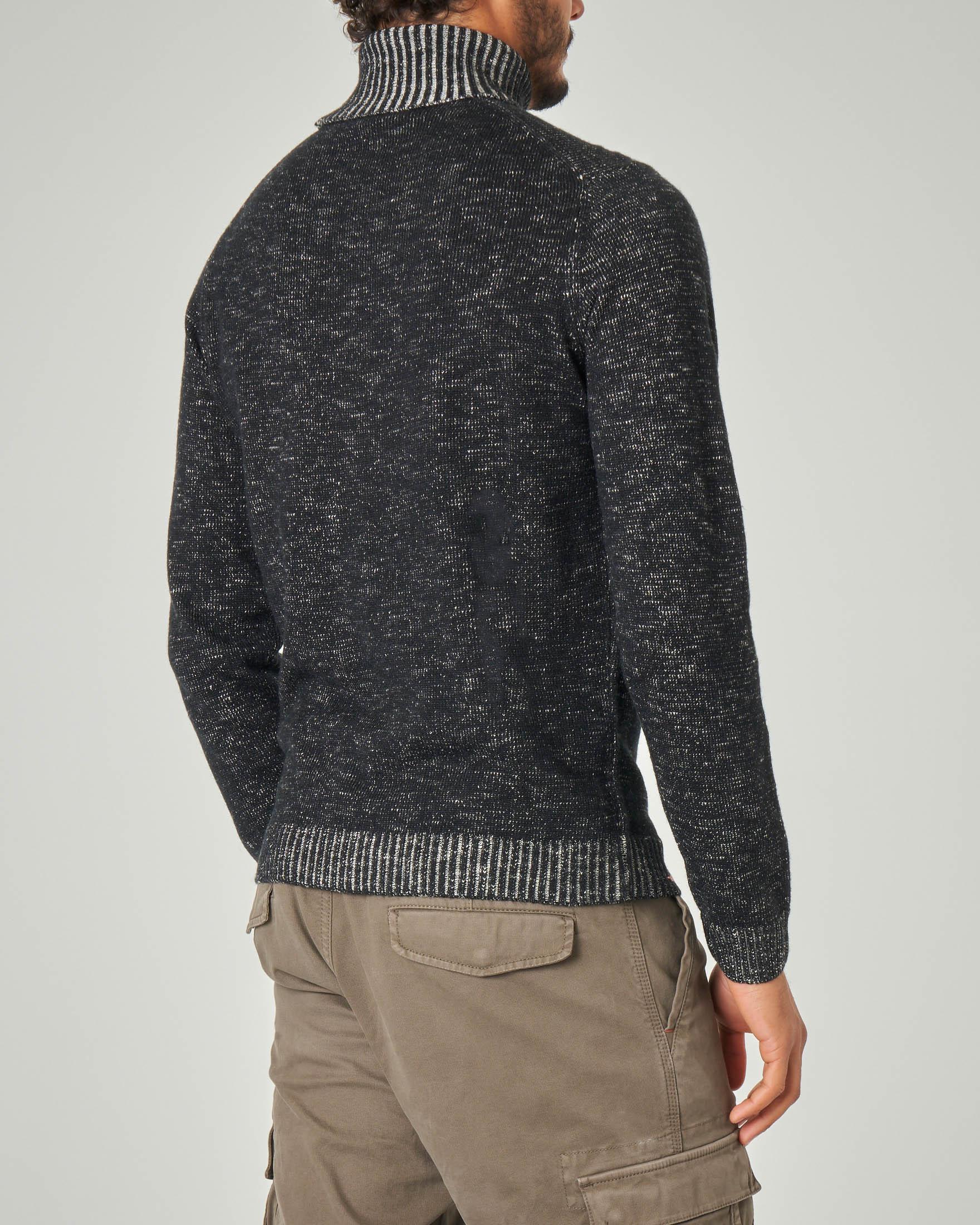 Dolcevita nero melange in misto cotone e lana