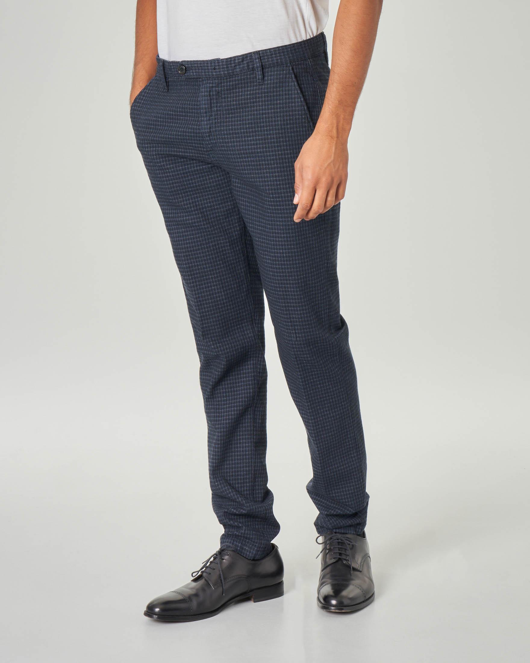 Pantalone chino blu a quadretti in cotone stretch