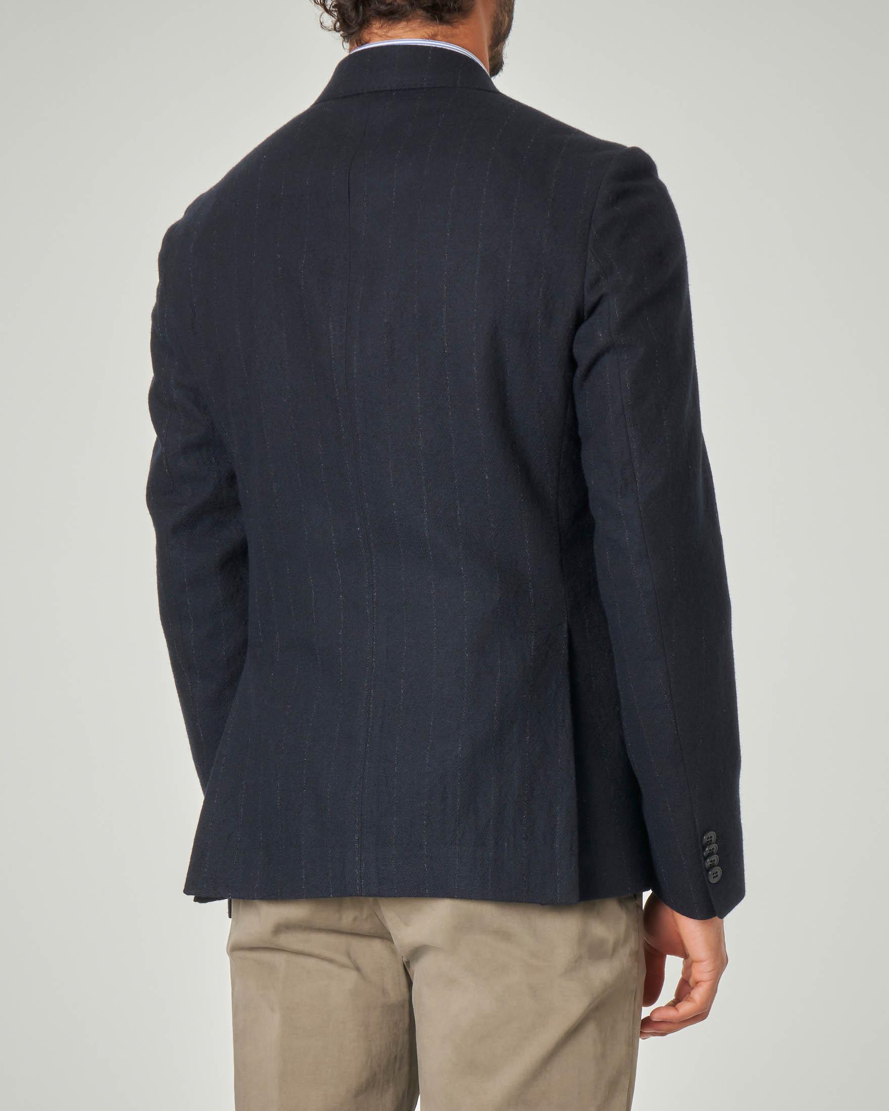 Giacca gessata blu in lana