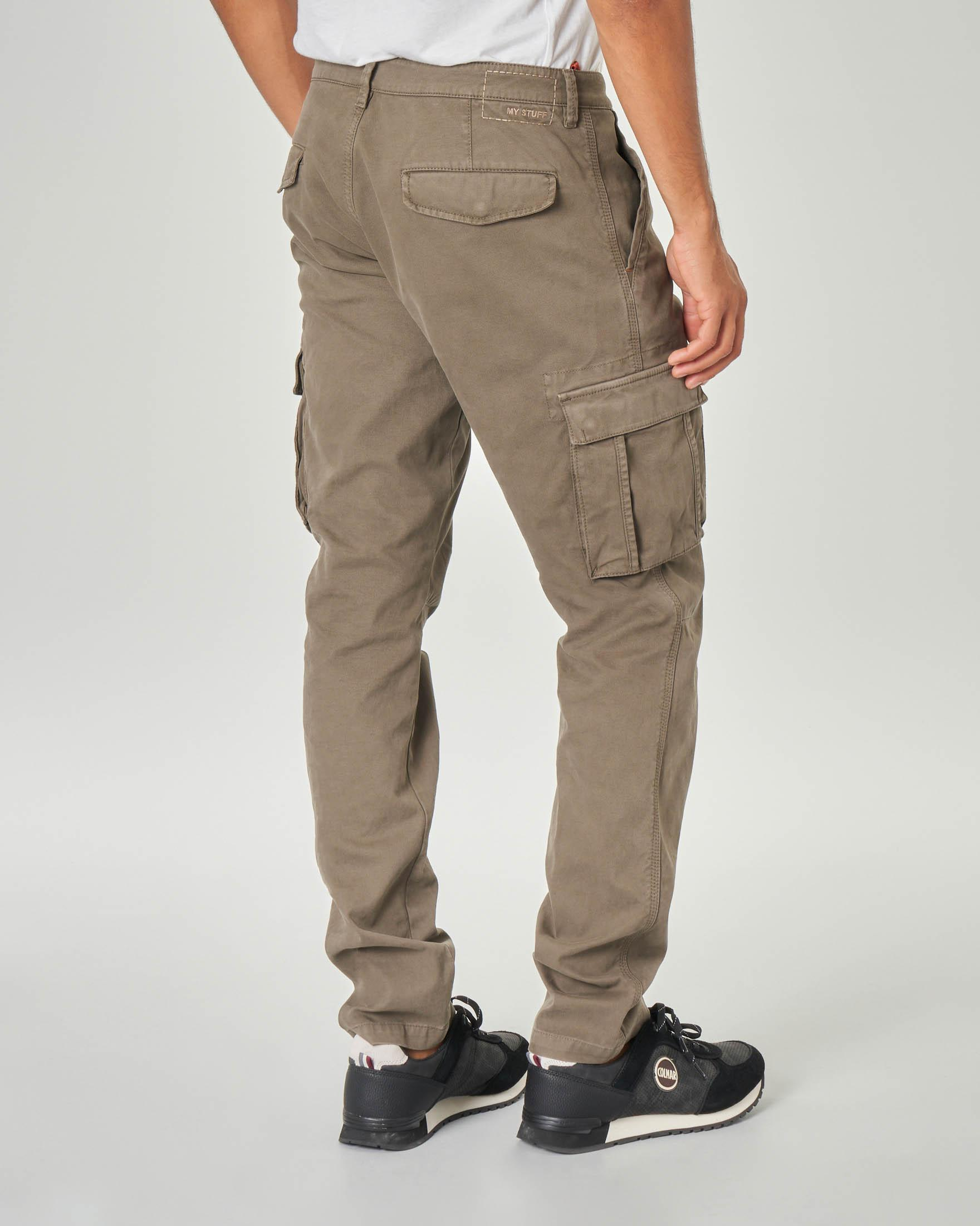 Pantalone tasconato color tortora