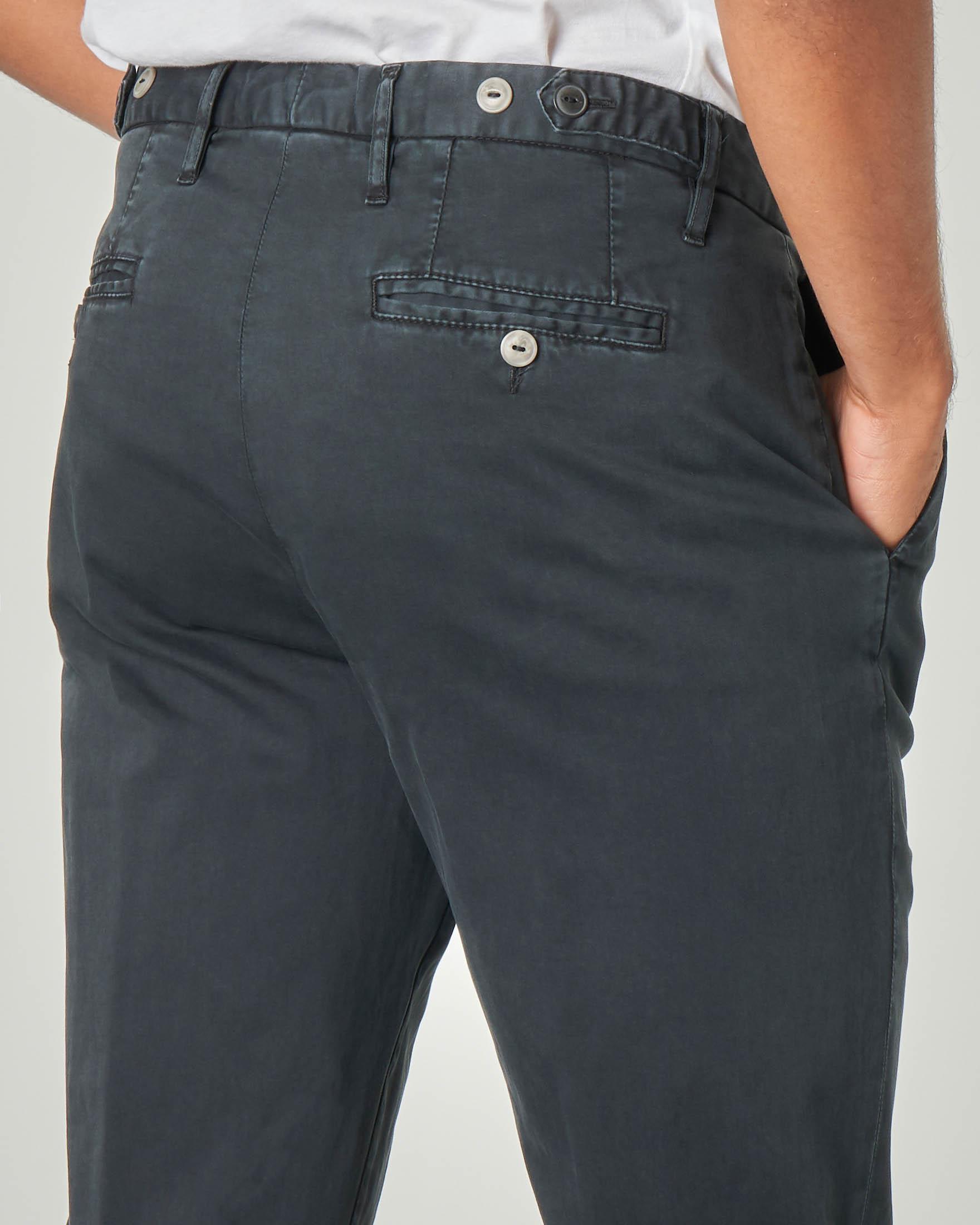 Pantalone chino nero in raso di cotone stretch