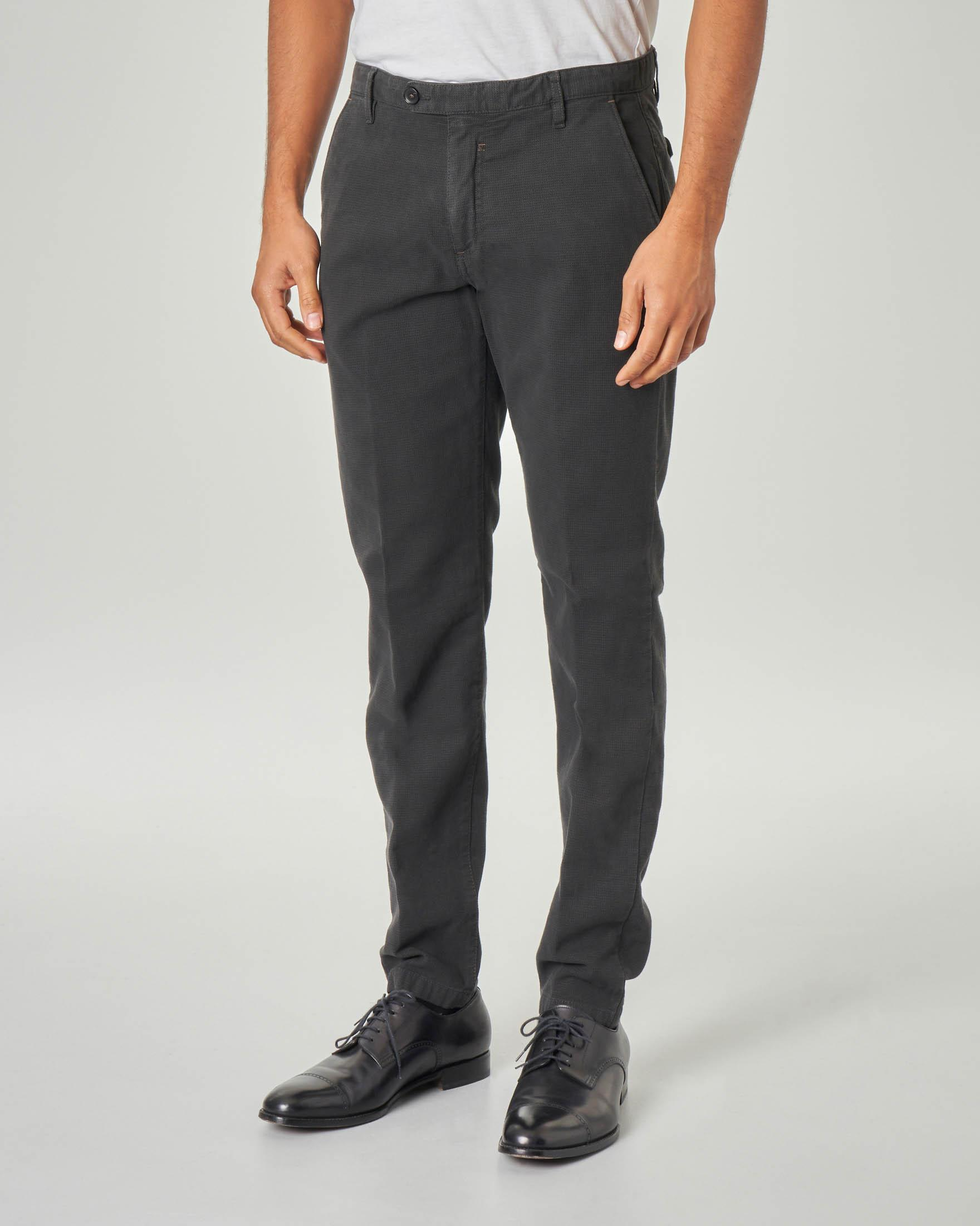 Pantalone chino grigio antracite micro-quadretto in cotone stretch
