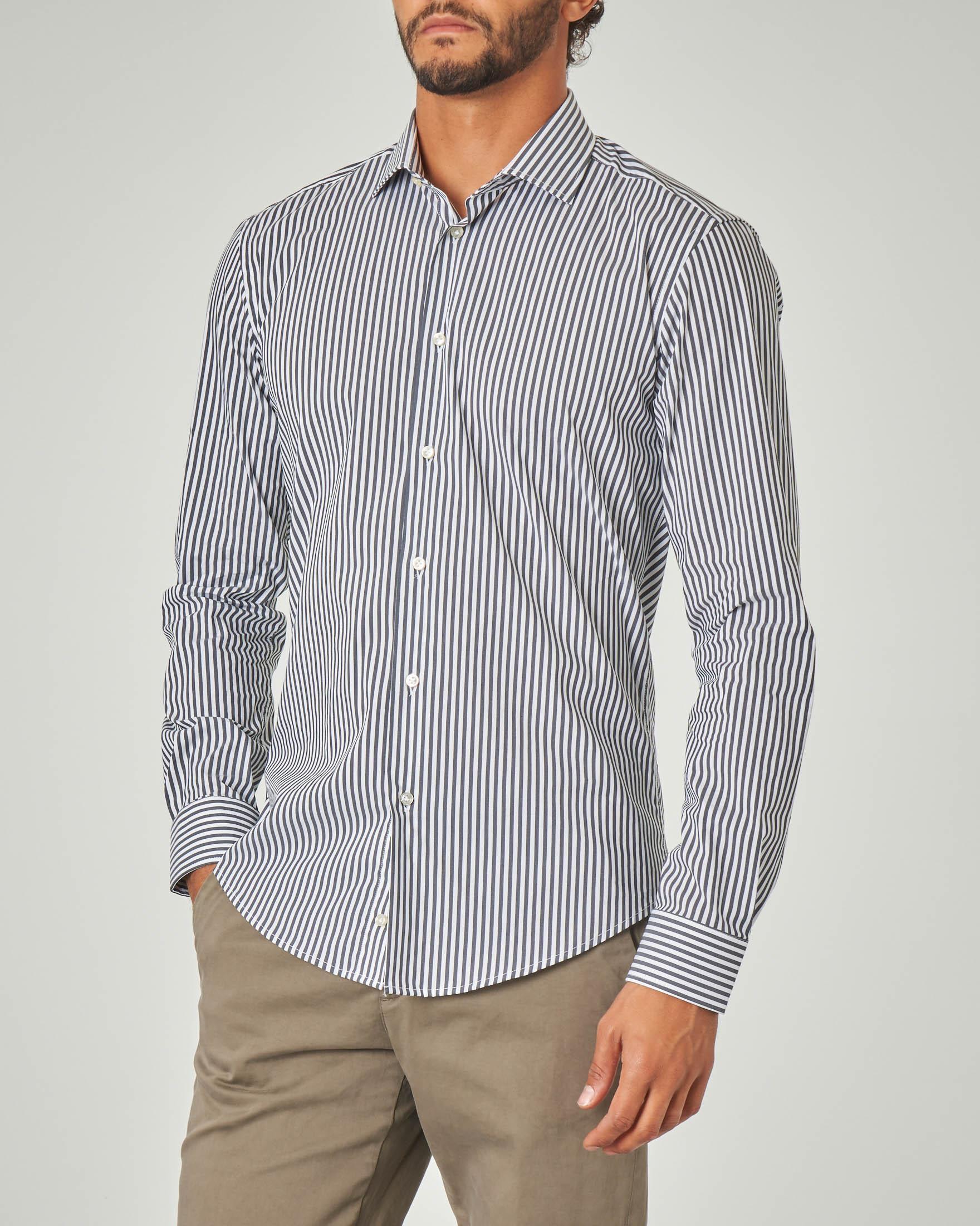 Camicia bastoncino bianco e blu