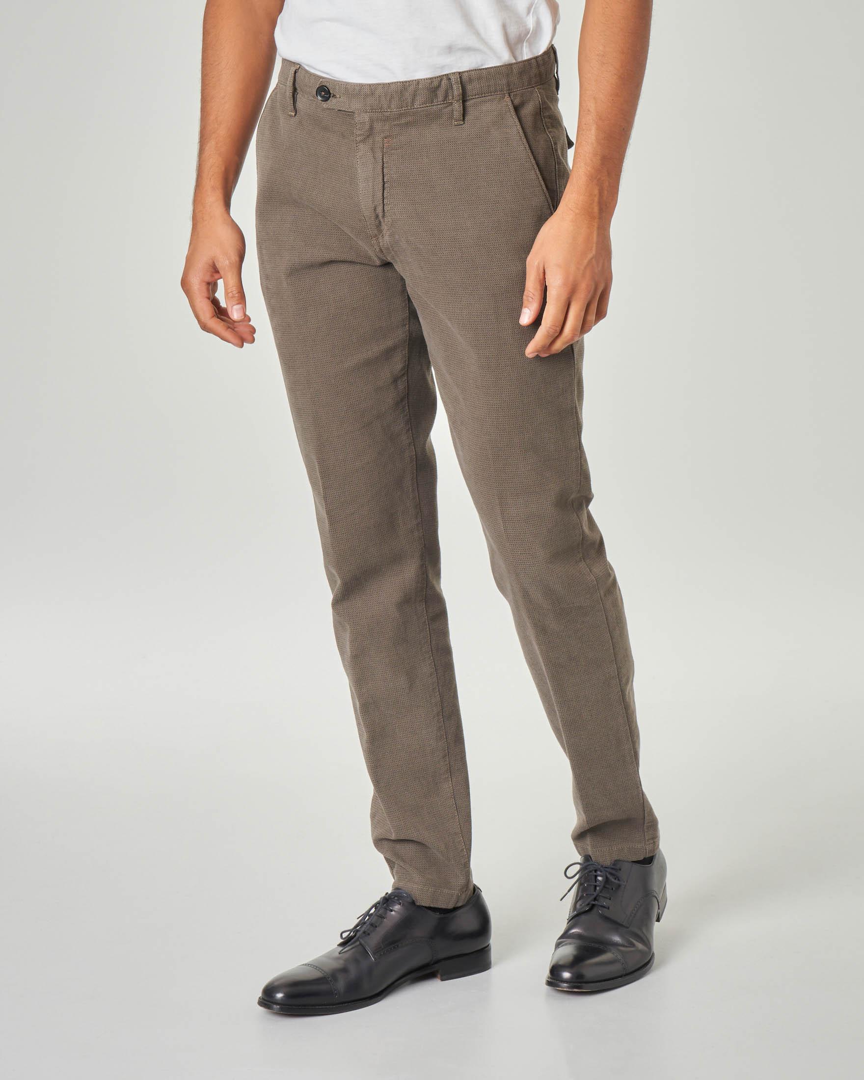 Pantalone chino kaki micro-quadretto in cotone stretch