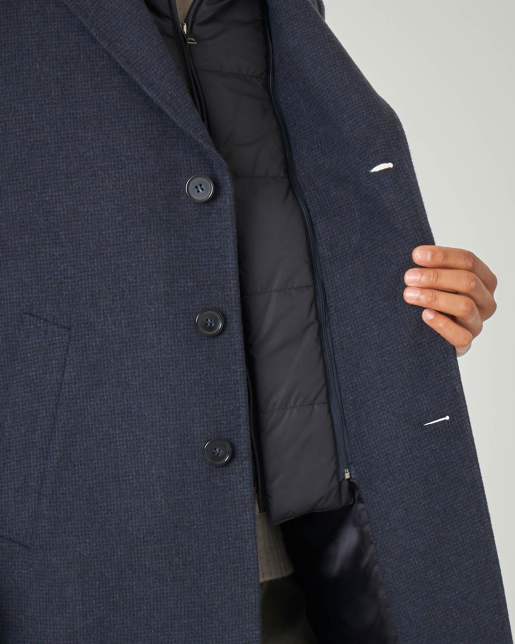 Cappotto blu in lana fantasia micro pied de poule con davantino in nylon staccabile