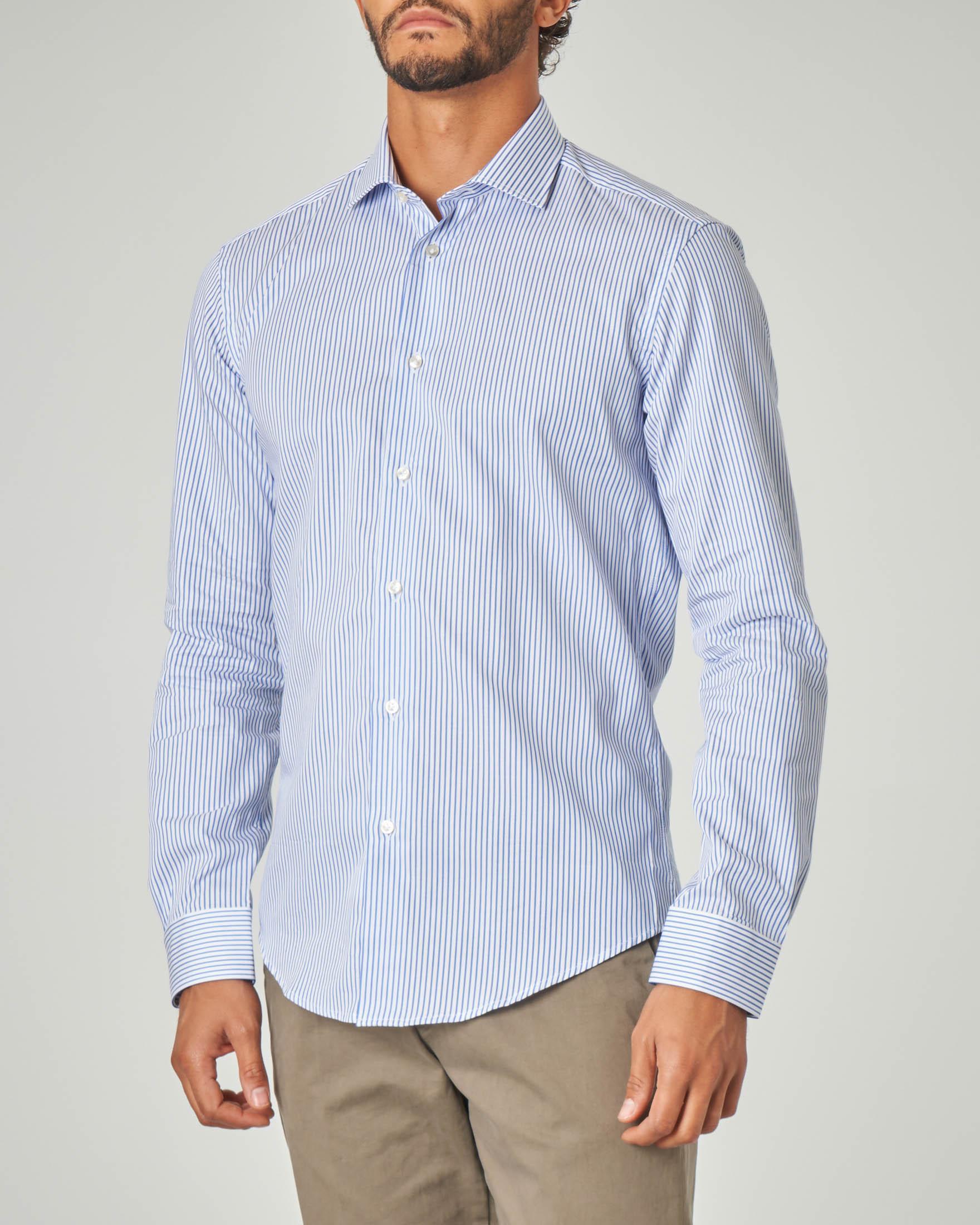 Camicia bastoncino bianco azzurro in twill di cotone