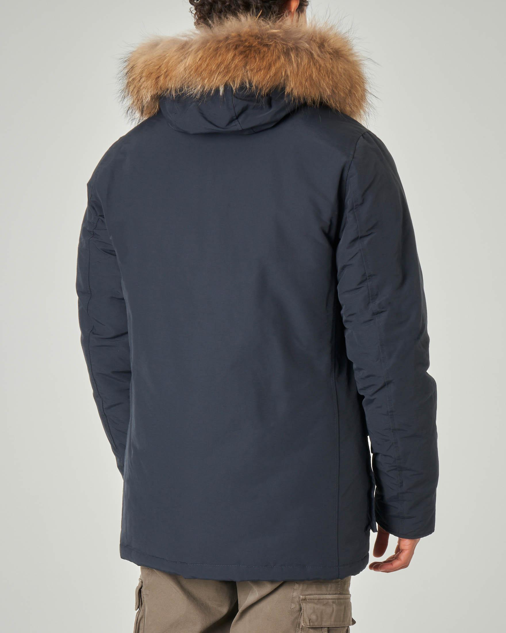 Parka blu con cappuccio e vera pelliccia
