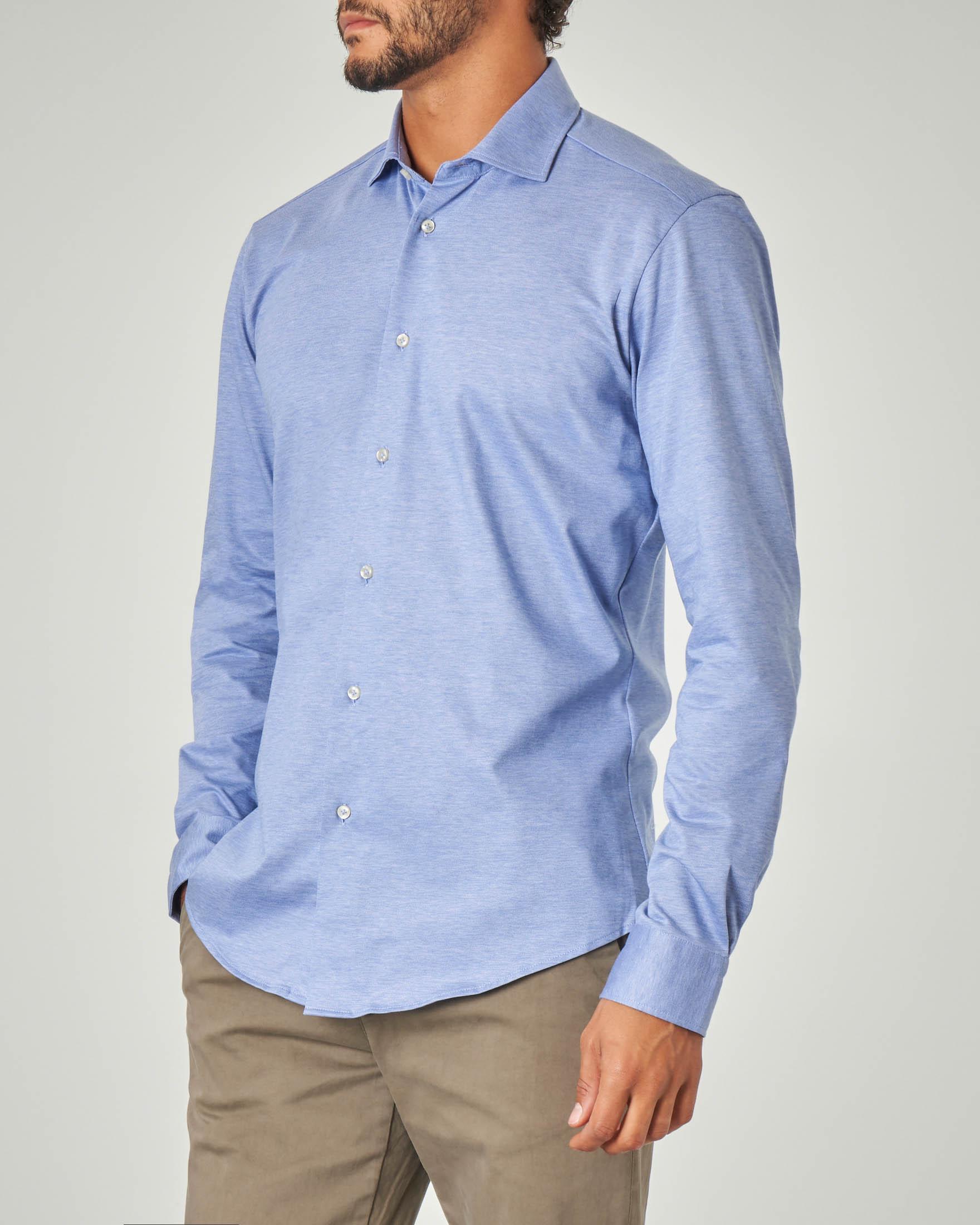Camicia azzurra in jersey di cotone