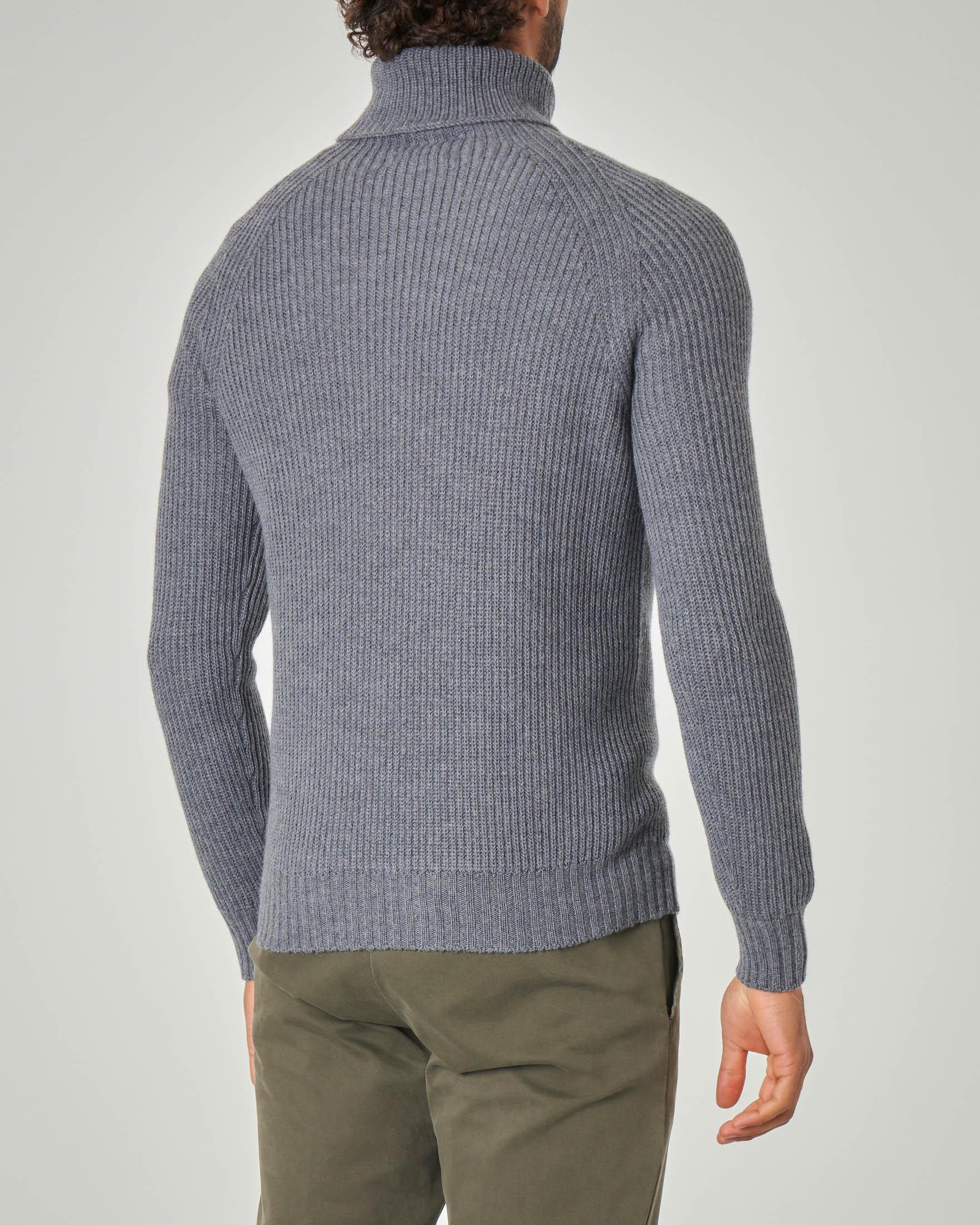 Dolcevita grigio a coste in lana merino finezza 7