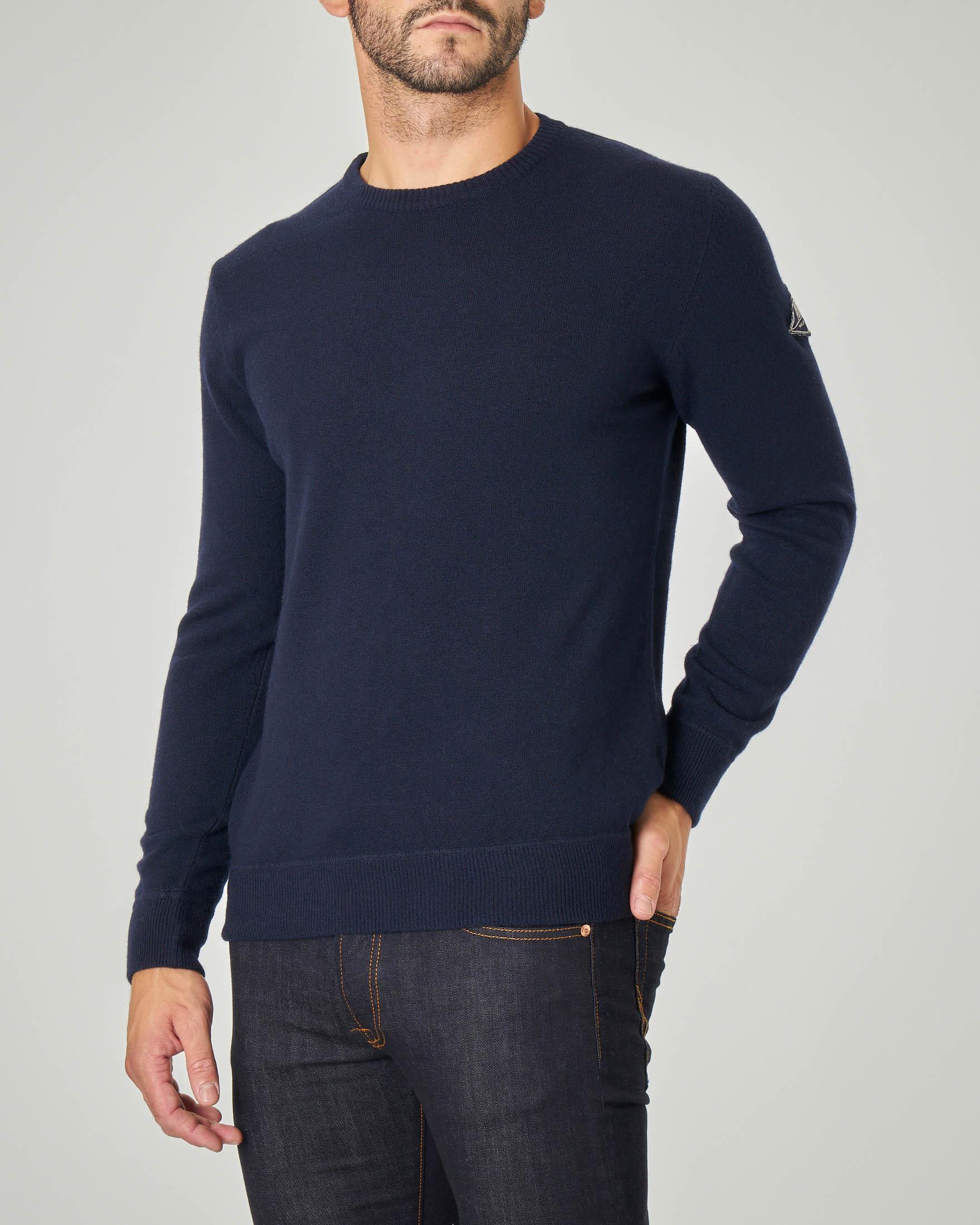 Maglia blu girocollo in lana, viscosa e cachemire