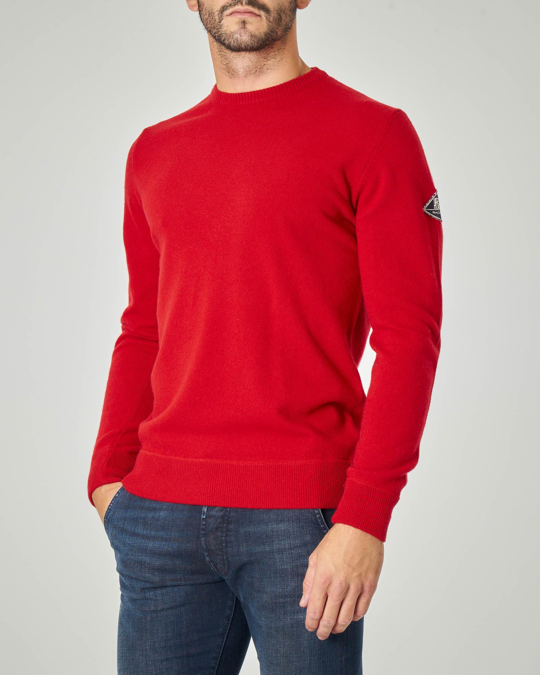 Maglia rossa girocollo in lana, viscosa e cachemire