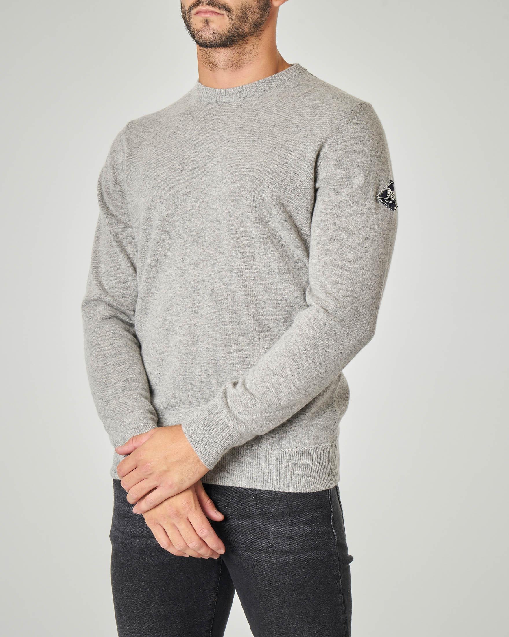 Maglia grigia girocollo in lana, viscosa e cachemire