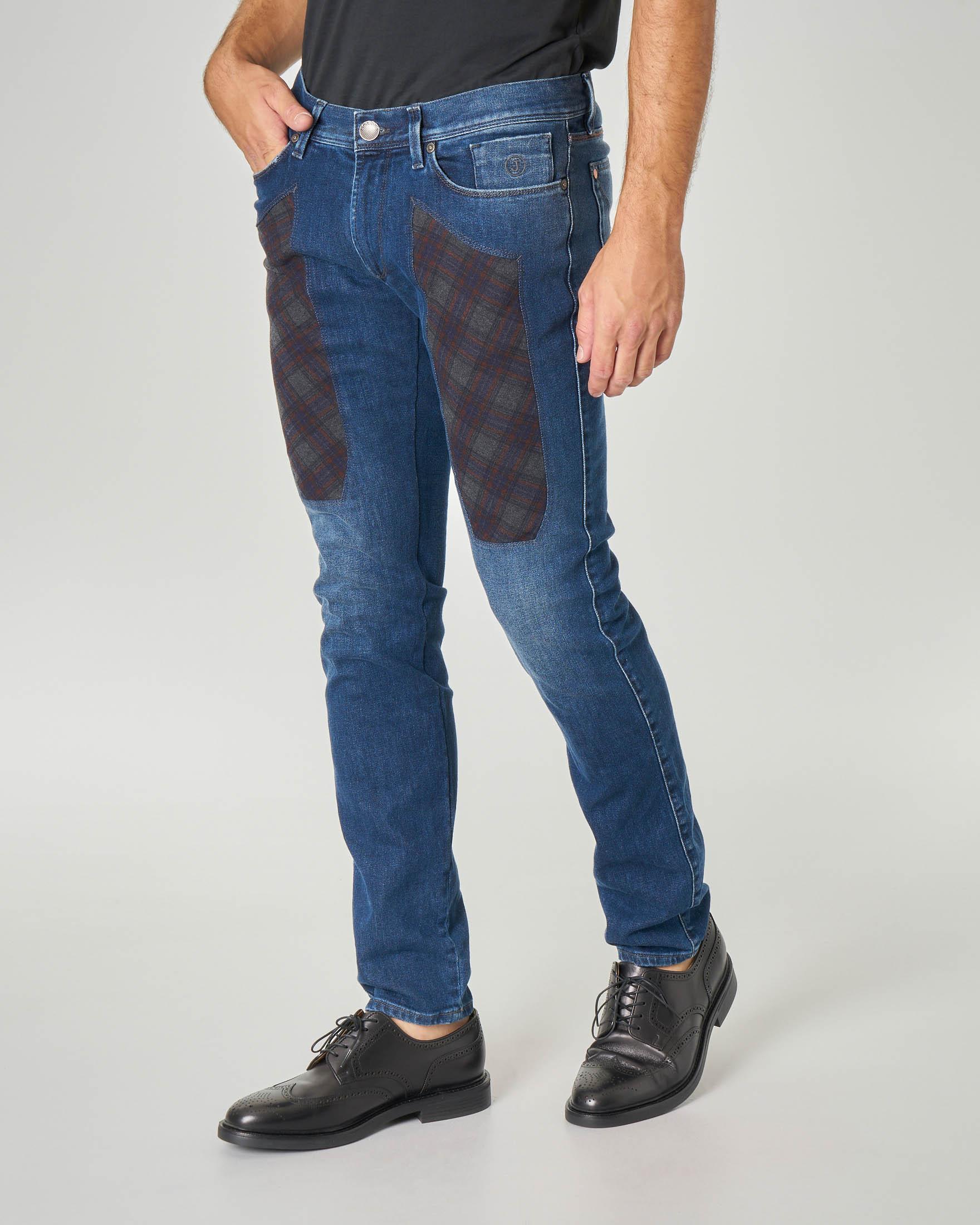 Jeans PA077 con toppa in tartan check lavaggio stone wash