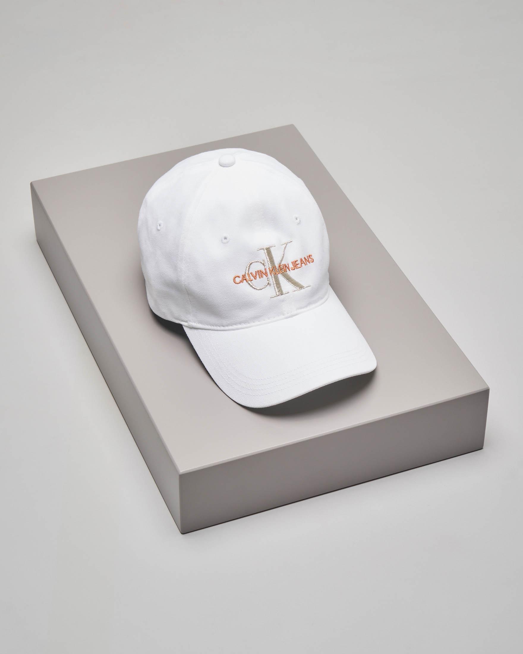 Cappellino bianco in cotone con frontalino e scritta logo a contrasto