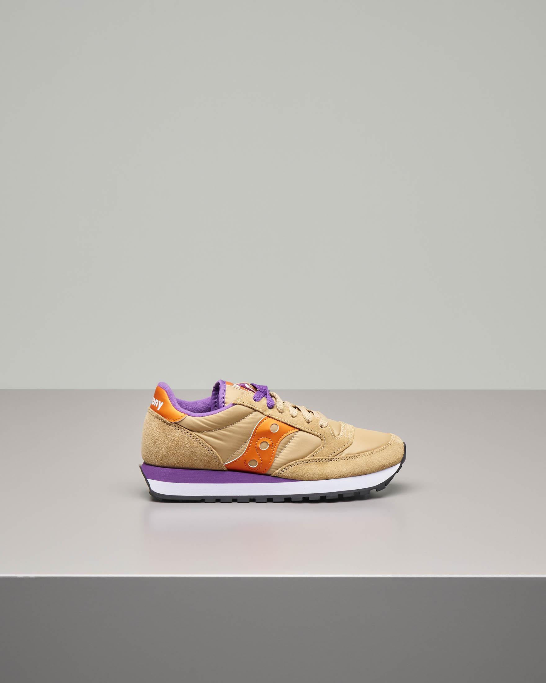 Sneakers Jazz O' color cammello con dettagli viola e arancione