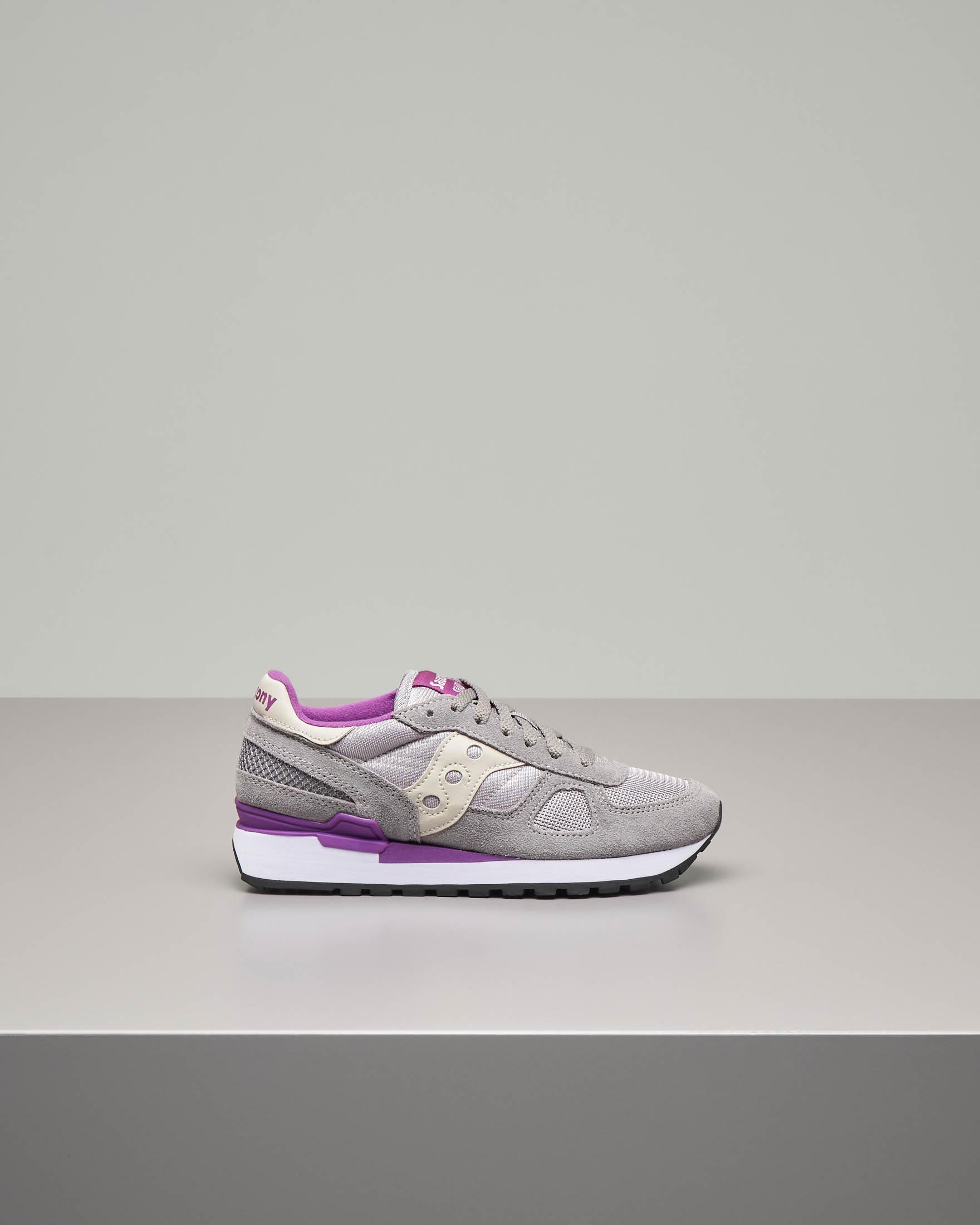 Sneakers Shadow O' grigia con dettaglio color ciclamino
