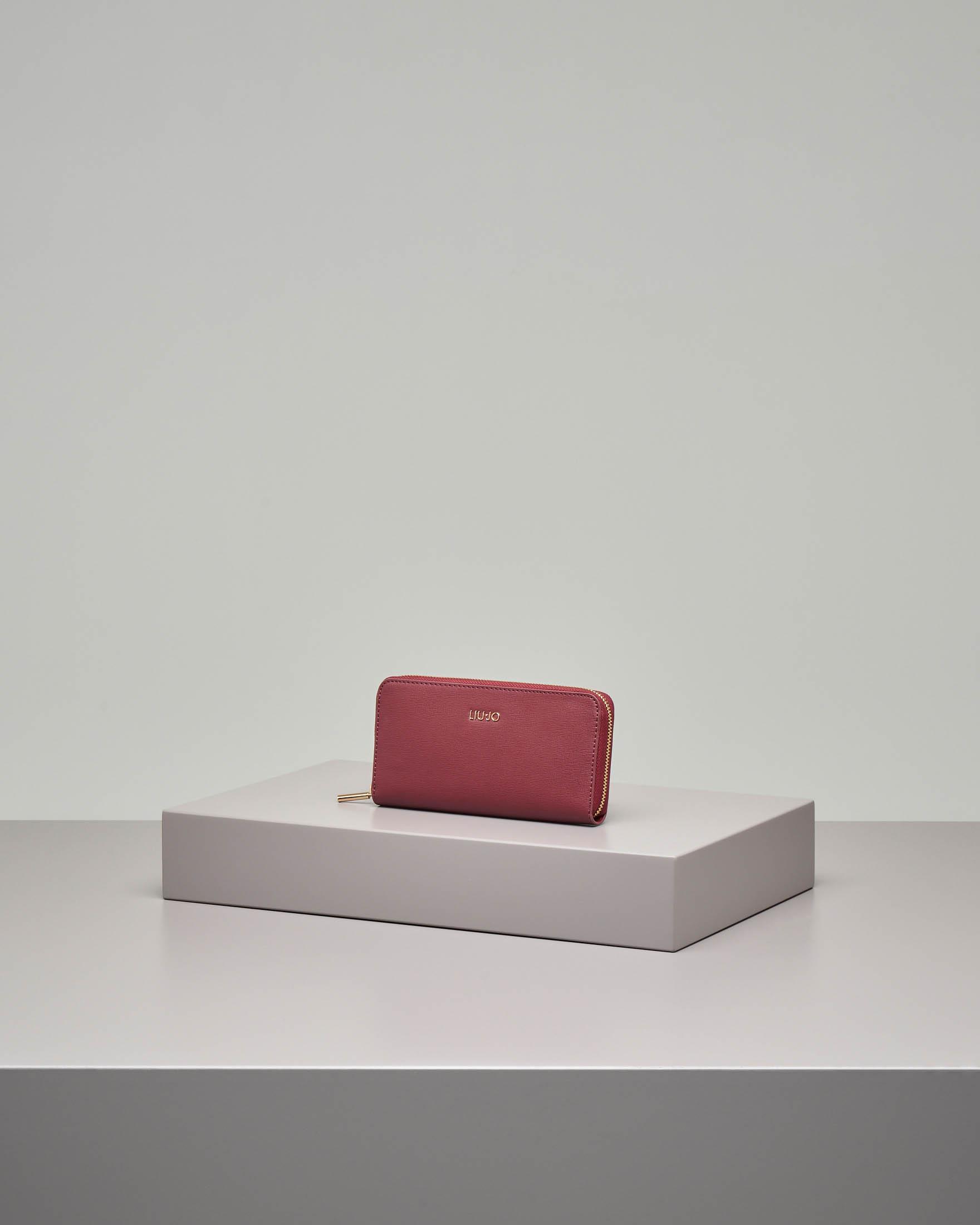 Portafoglio rosso in ecopelle effetto saffiano con chiusura a cerniera