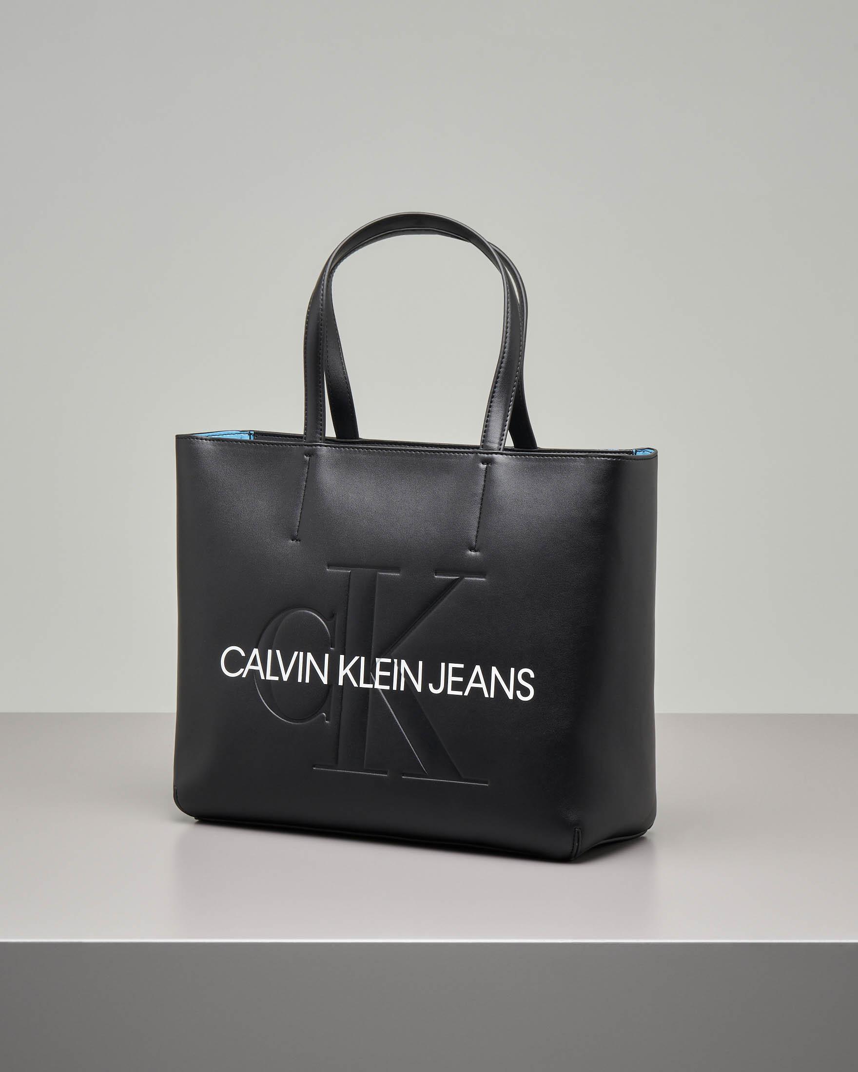 Shopping bag nera misura grande con scritta logo a contrasto sul davanti