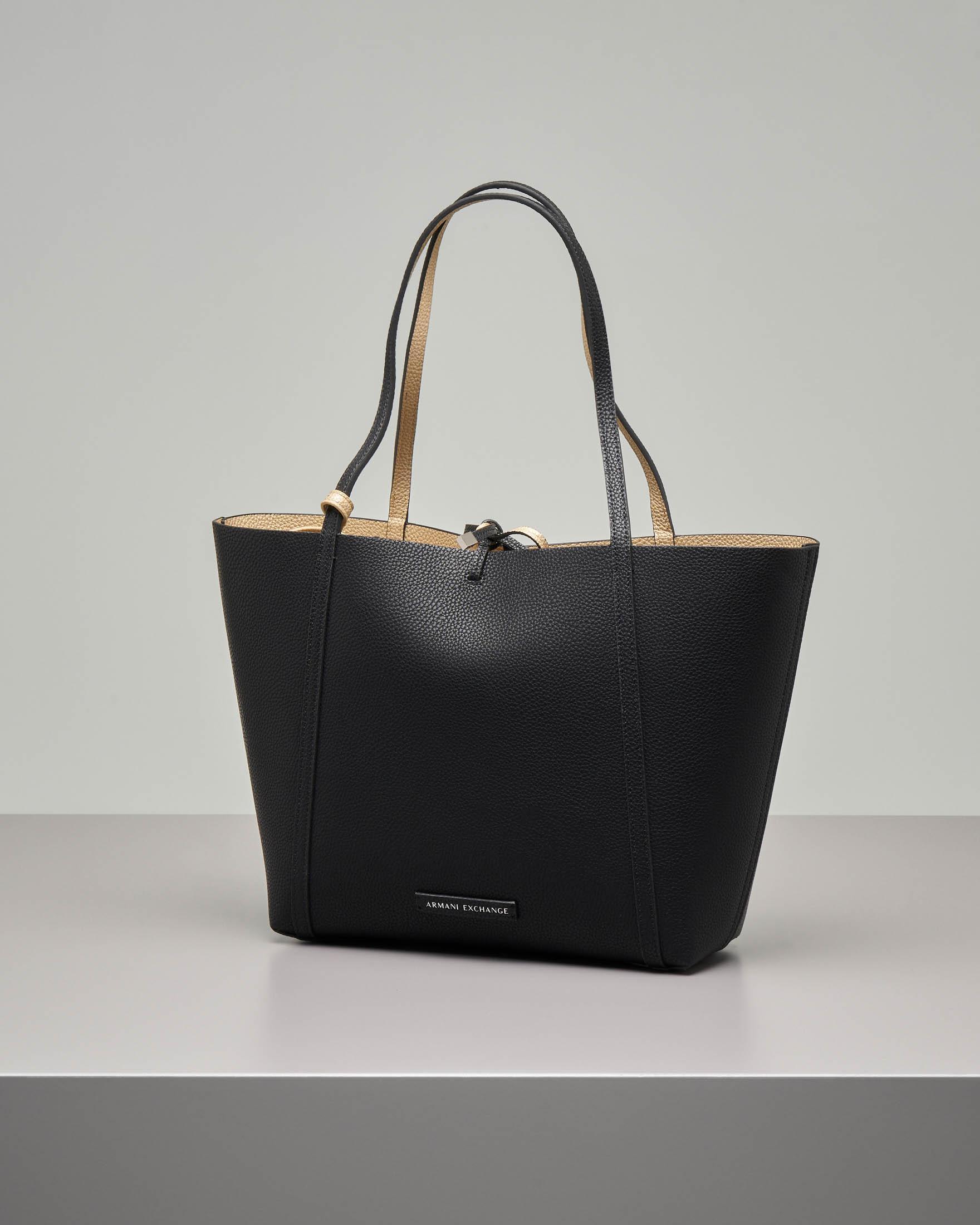 Shopping bag morbida nera reversibile in oro in ecopelle effetto ciottolato