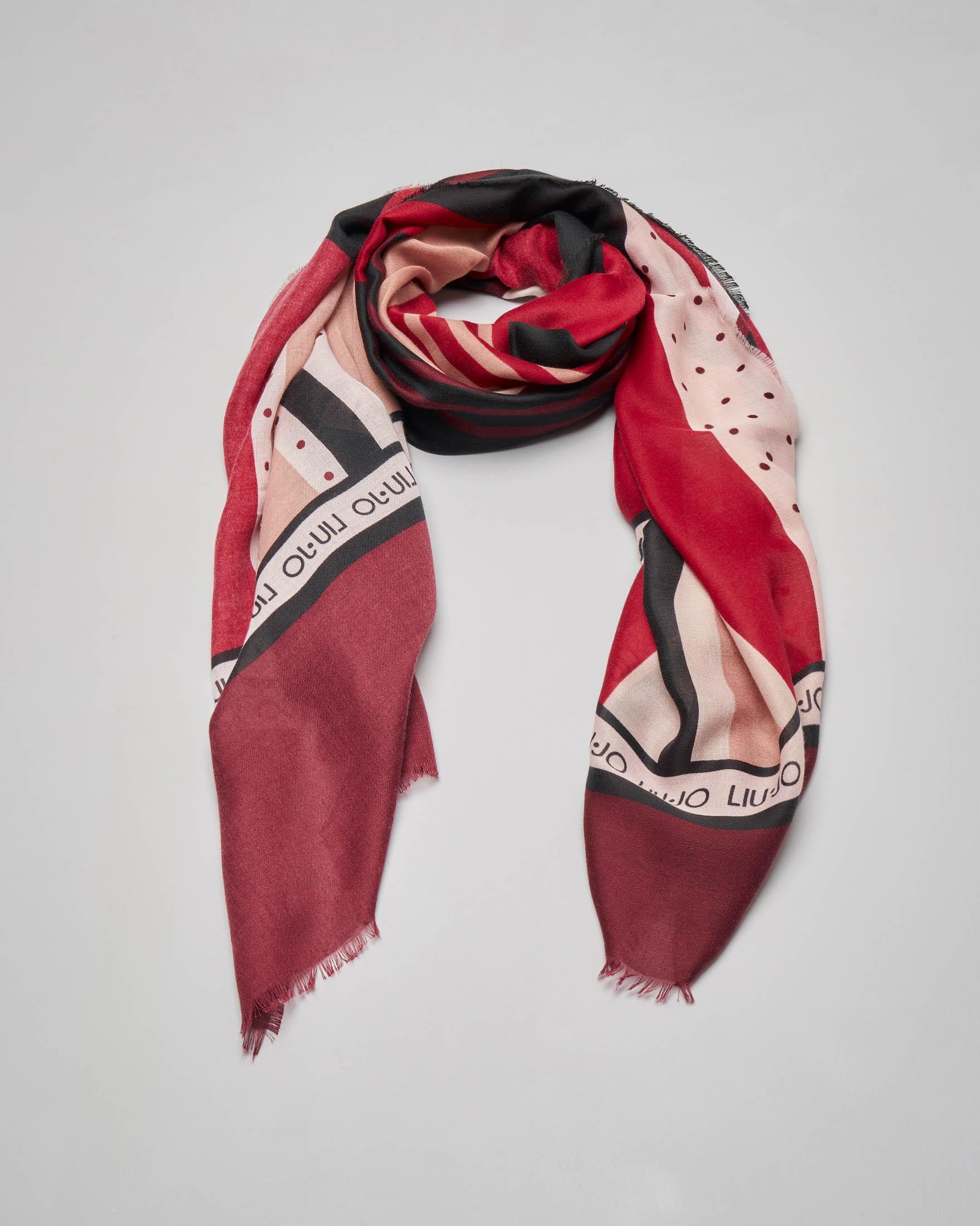 Sciarpa rossa con scritta logo e a fantasia patch