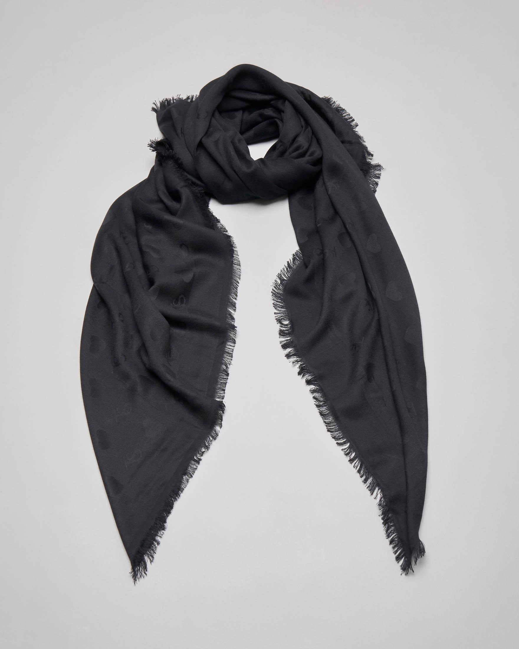 Foulard in viscosa nero con scritta logo all over tono su tono