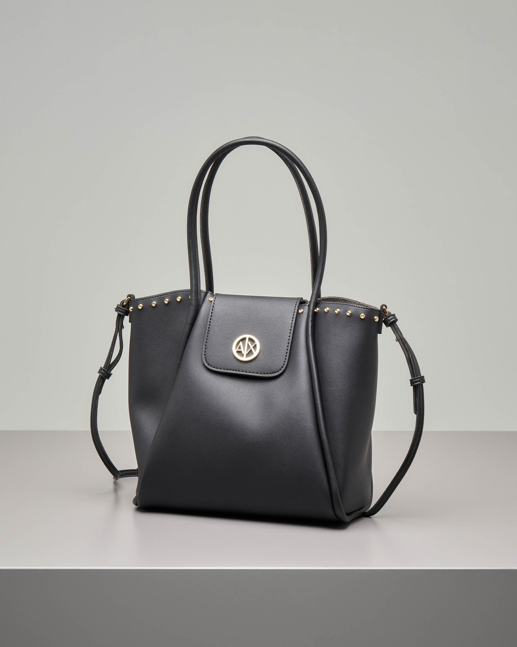 Shopping bag morbida nera misura piccola con borchie