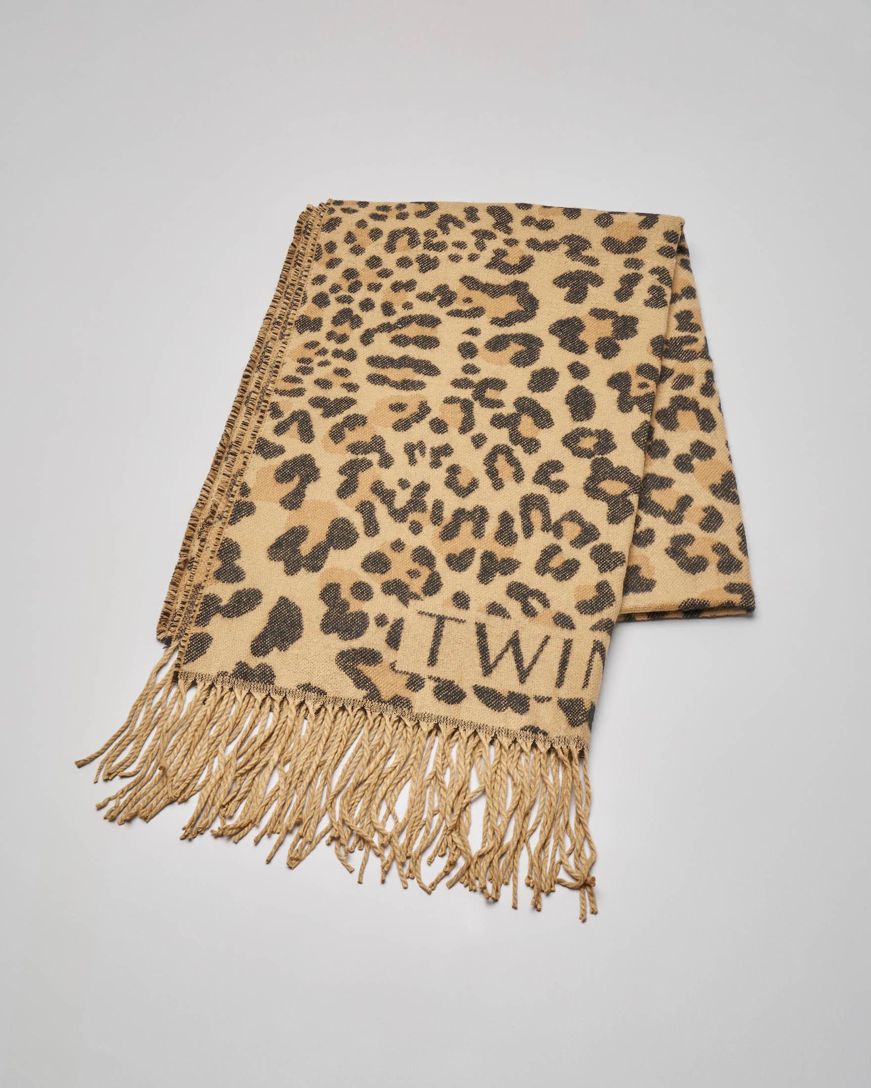 Sciarpa cammello tessuto effetto panno a stampa animalier