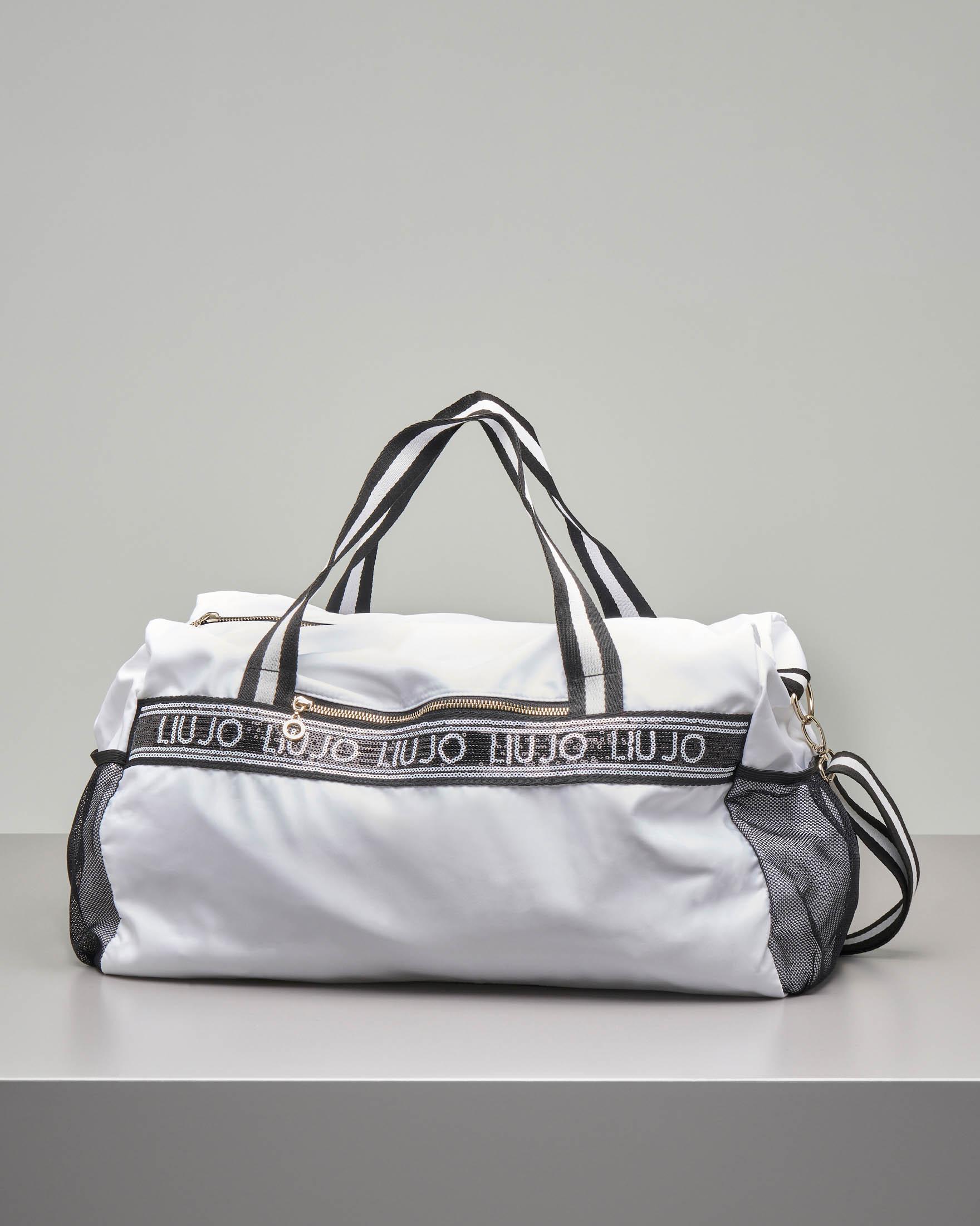 Borsone bianco sportivo in nylon con manici bicolore e scritta logo in paillettes