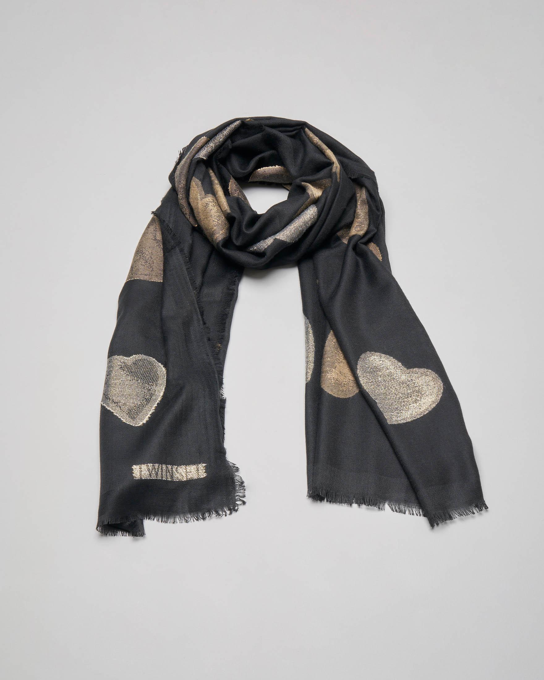 Sciarpa nera con cuori oro jacquard con inserti in lurex