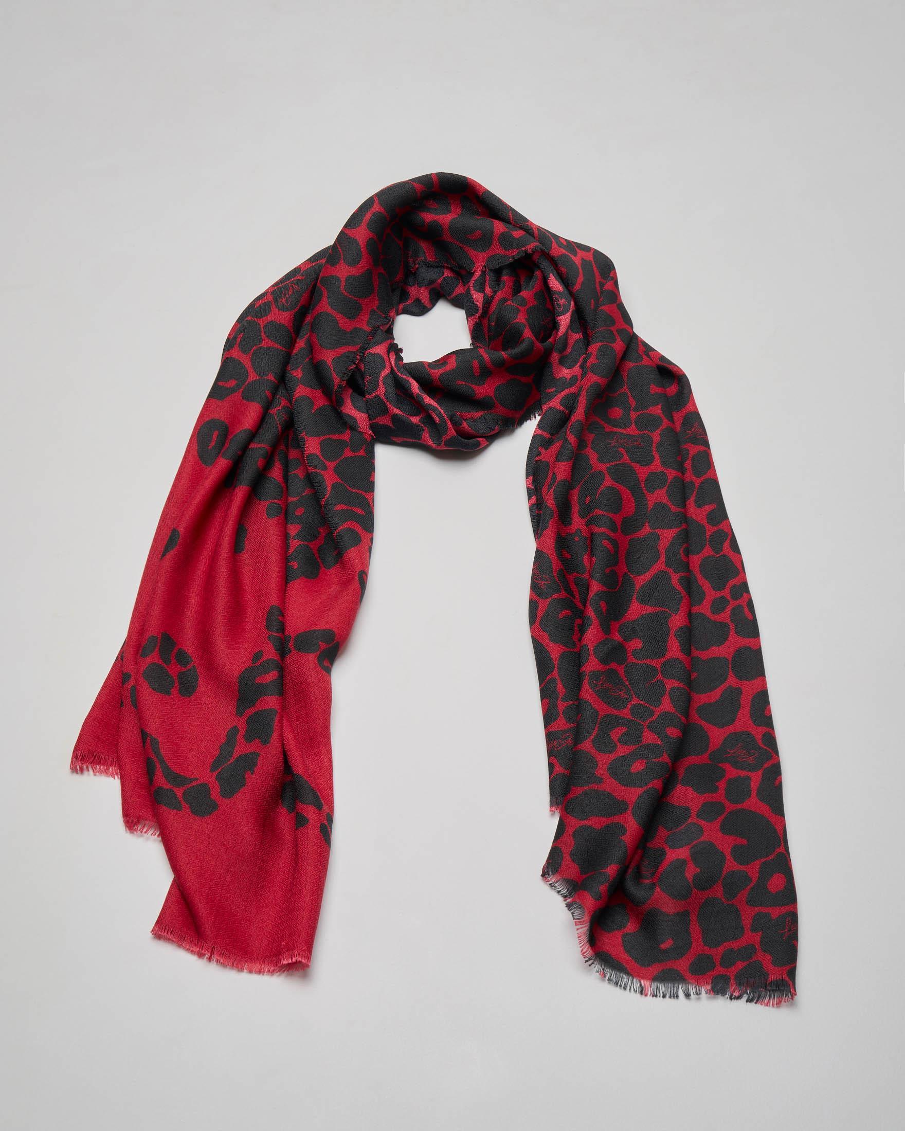 Sciarpa rossa a stampa animalier e scritta logo a contrasto