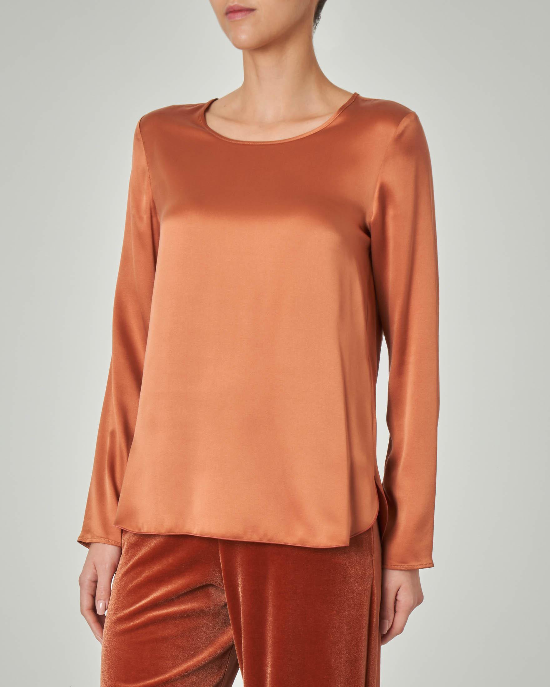 Blusa in crêpe seta color ruggine a maniche lunghe