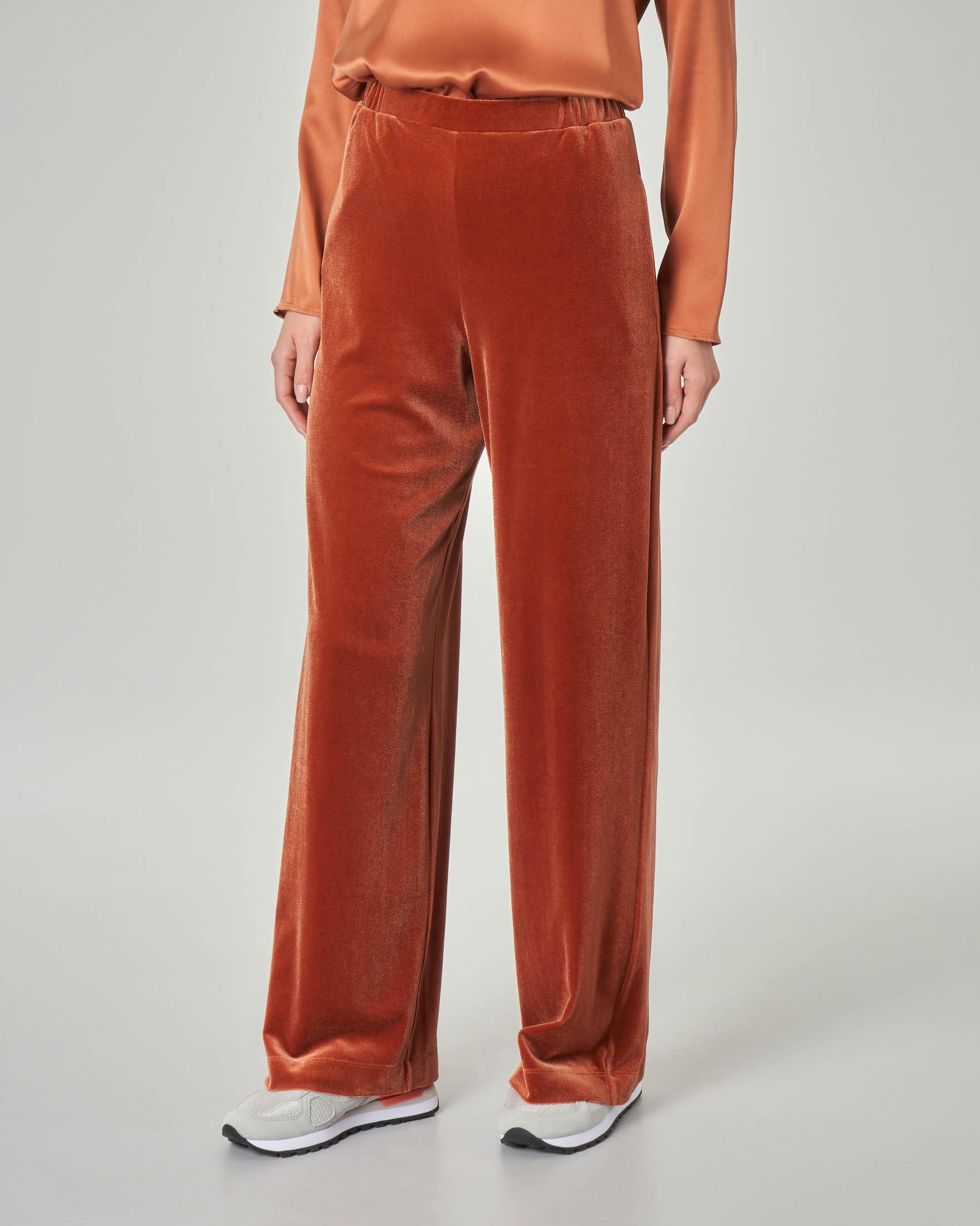 Pantalone palazzo in velluto color ruggine