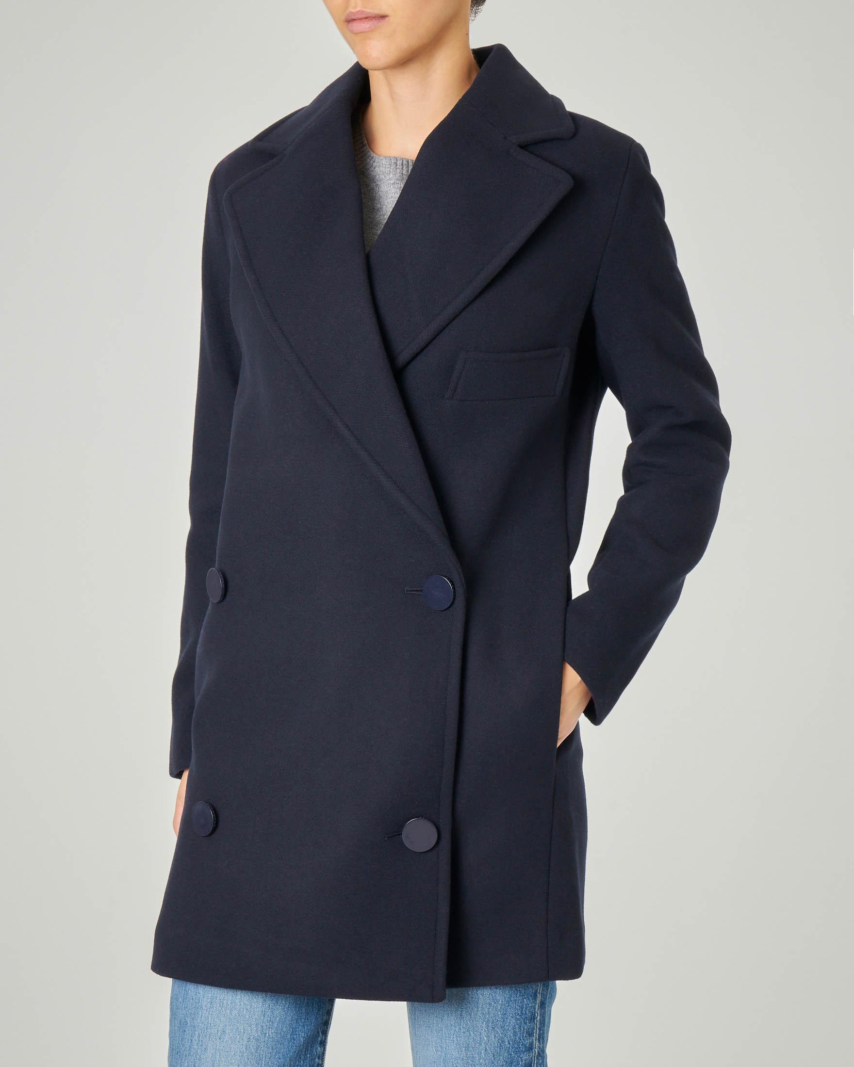 Cappotto blu in misto lana modello alla francese doppiopettp
