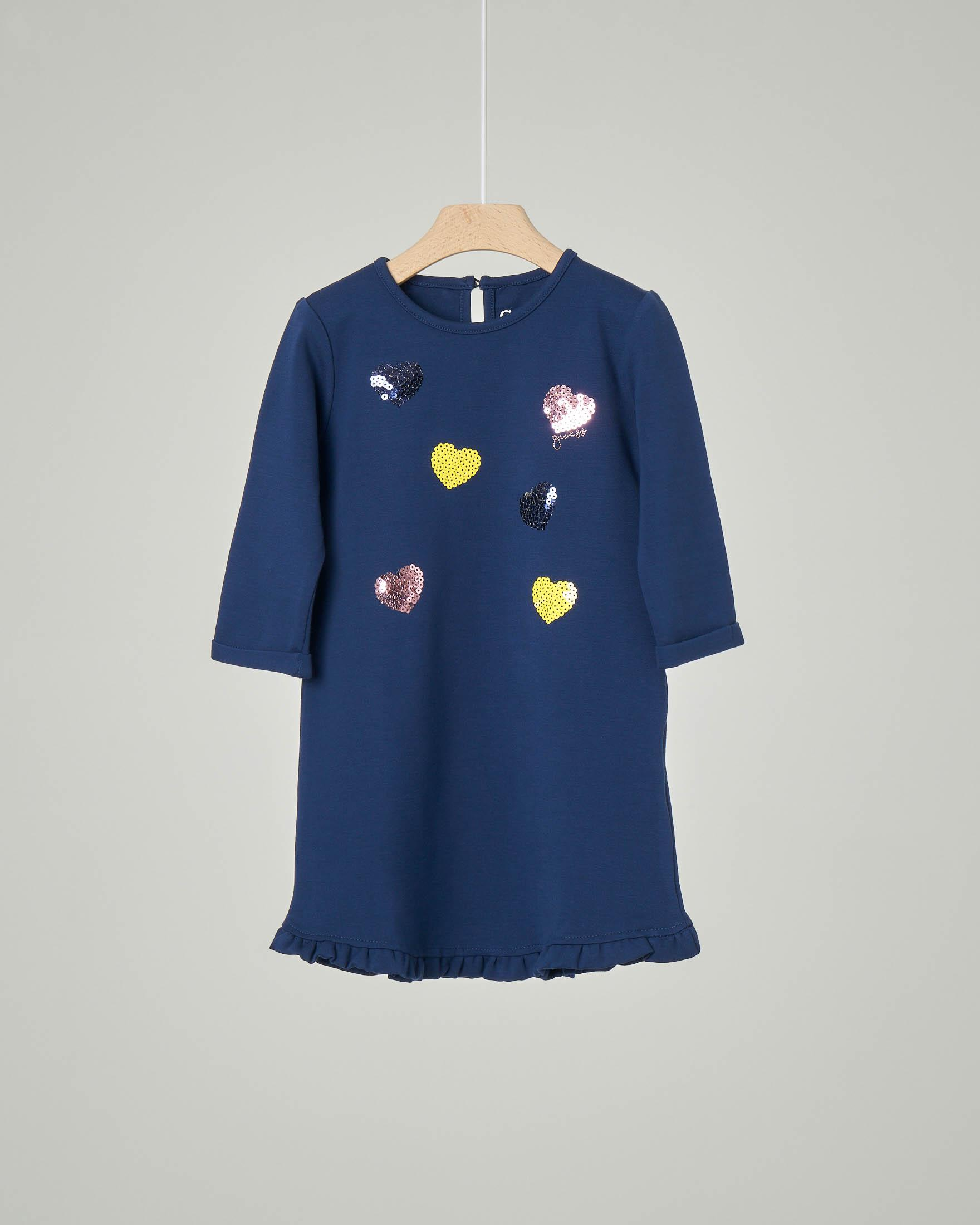 Abito blu in misto viscosa con cuori in paillettes applicati 3-7 anni