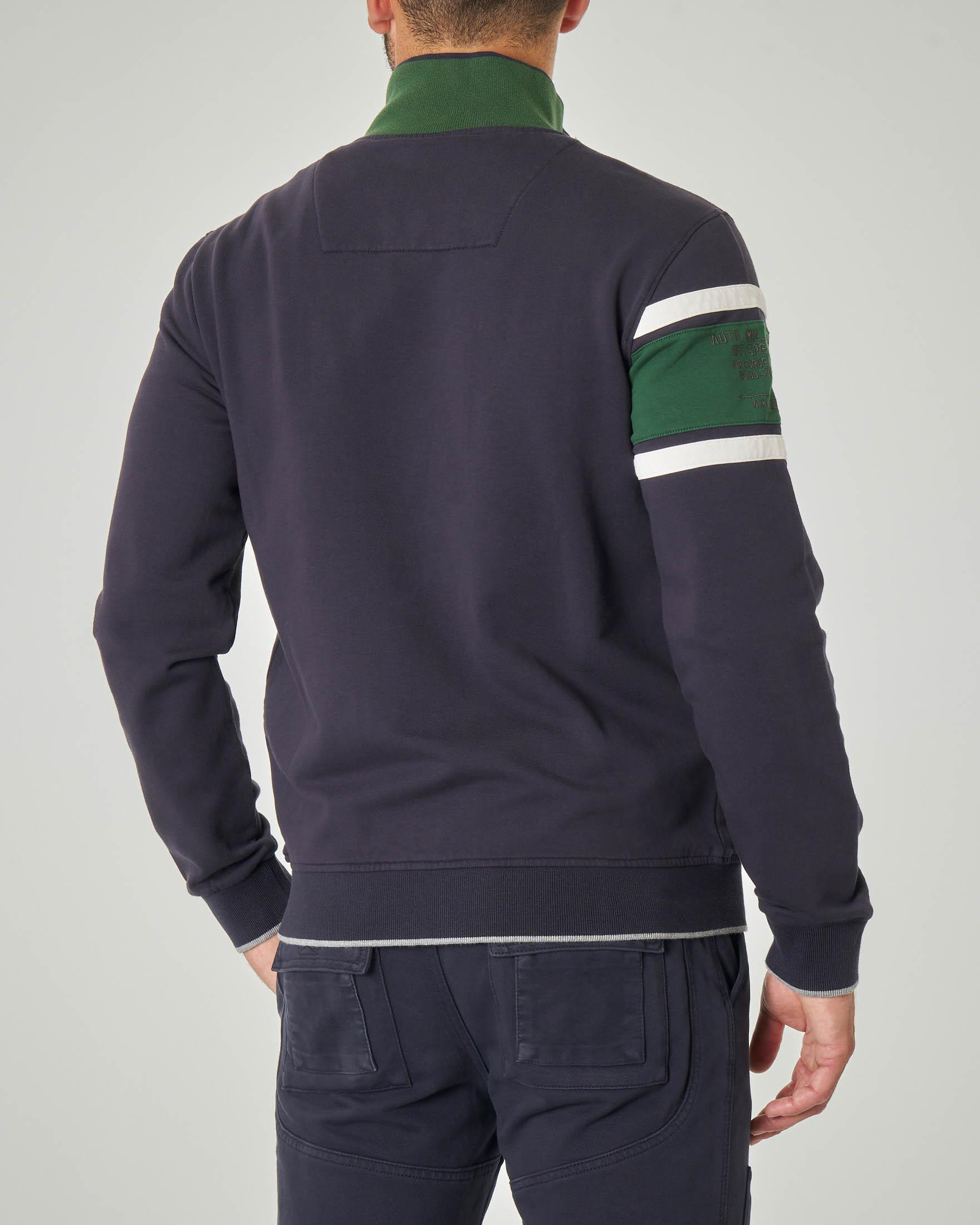 Felpa blu e verde con chiusura zip