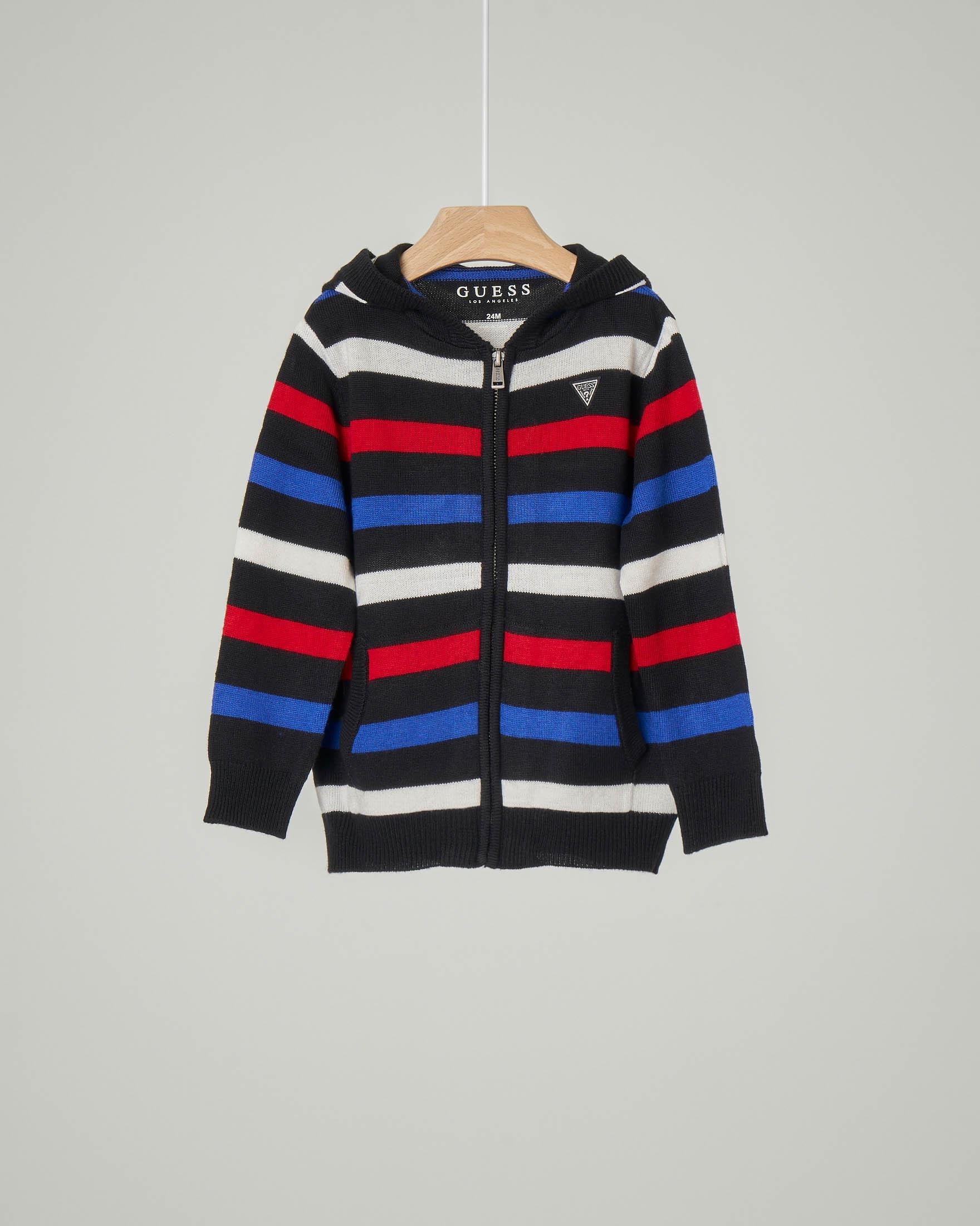 Maglia con cappuccio e chiusura a zip a righe multicolor in viscosa misto lana 9-24 mesi