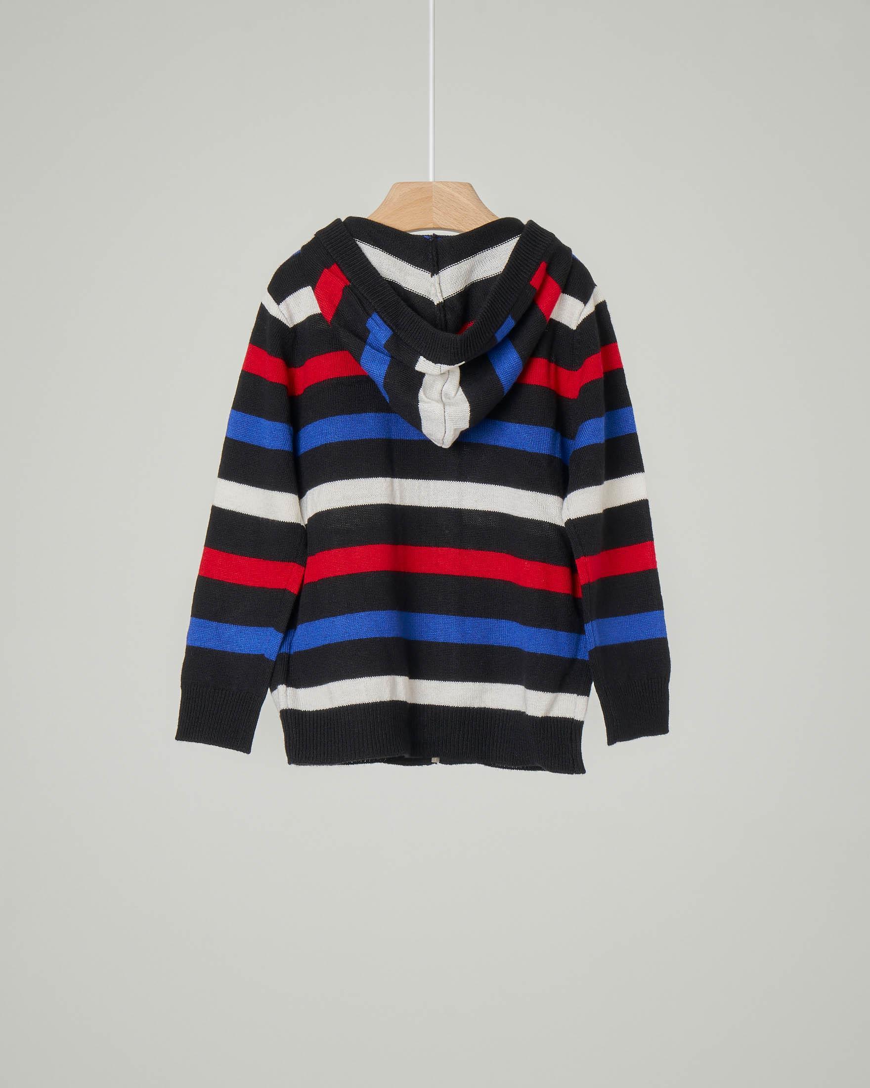 Maglia con cappuccio e chiusura a zip a righe multicolor in viscosa misto lana 9-18 mesi