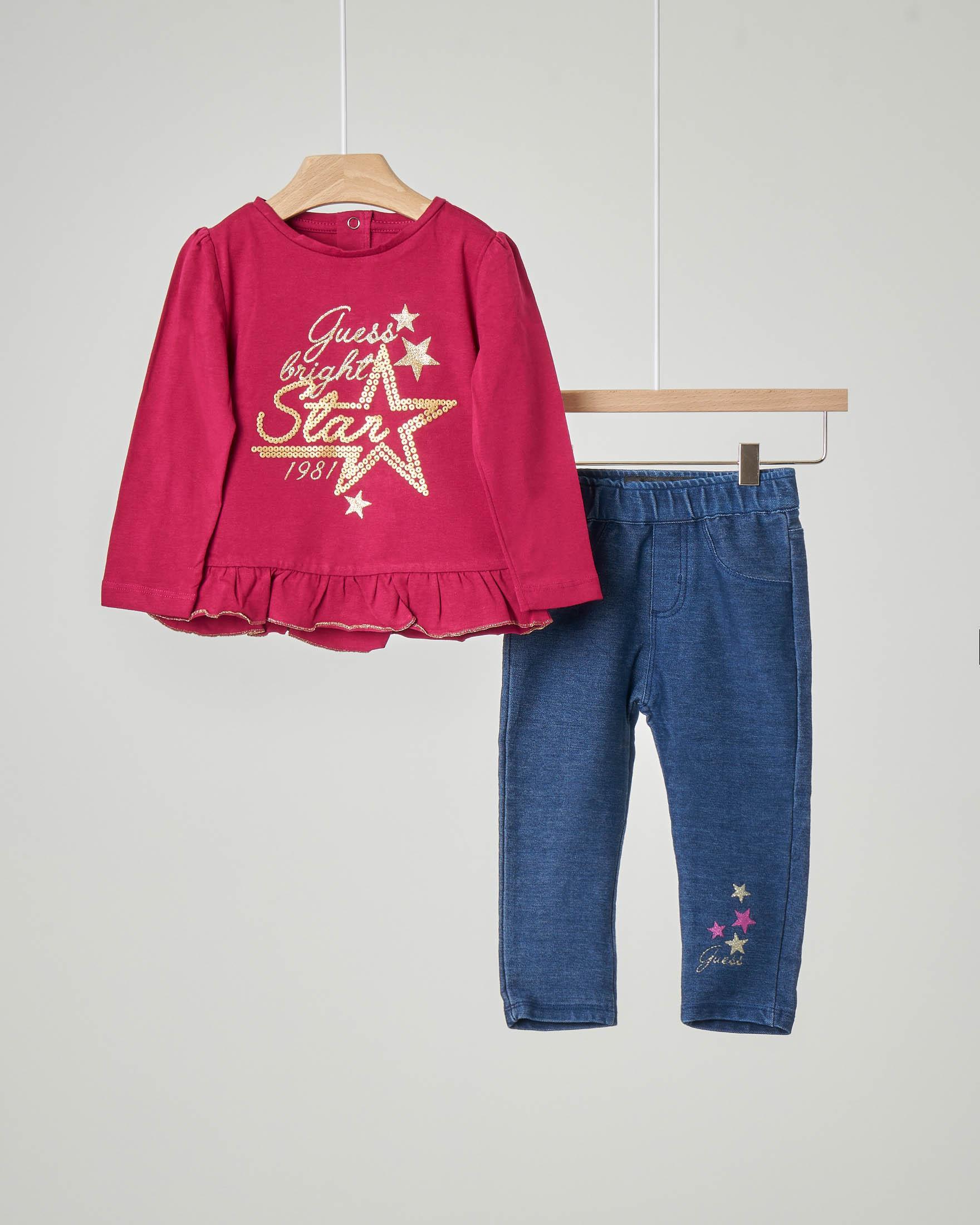 Completo maglia bordeaux manica lunga con volant sul fondo e scritta in glitter oro e pantalone effetto denim con elastico in vita 9-24 mesi