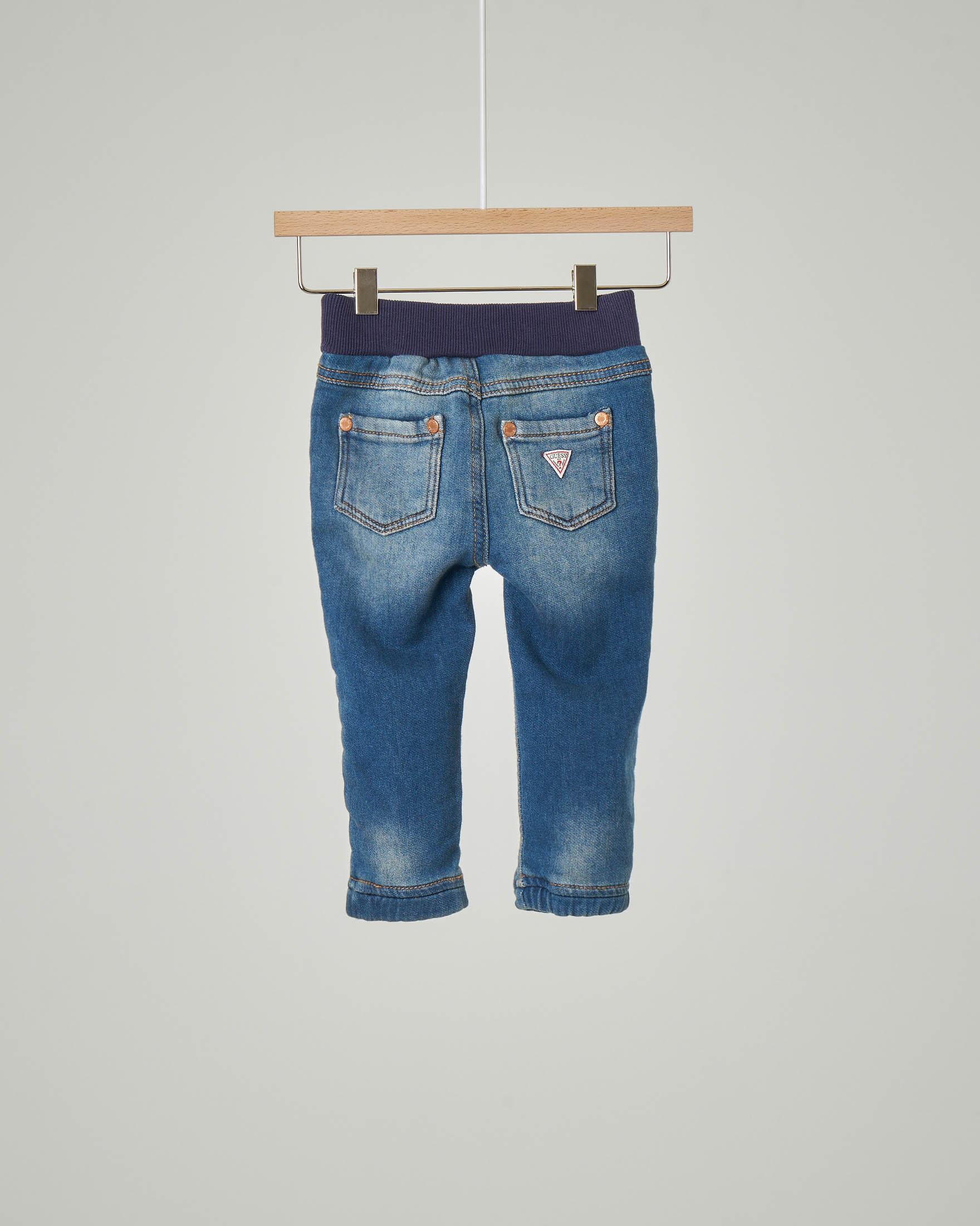 Jeans blu con fascia elastica in vita con coulisse interna 12-24 mesi
