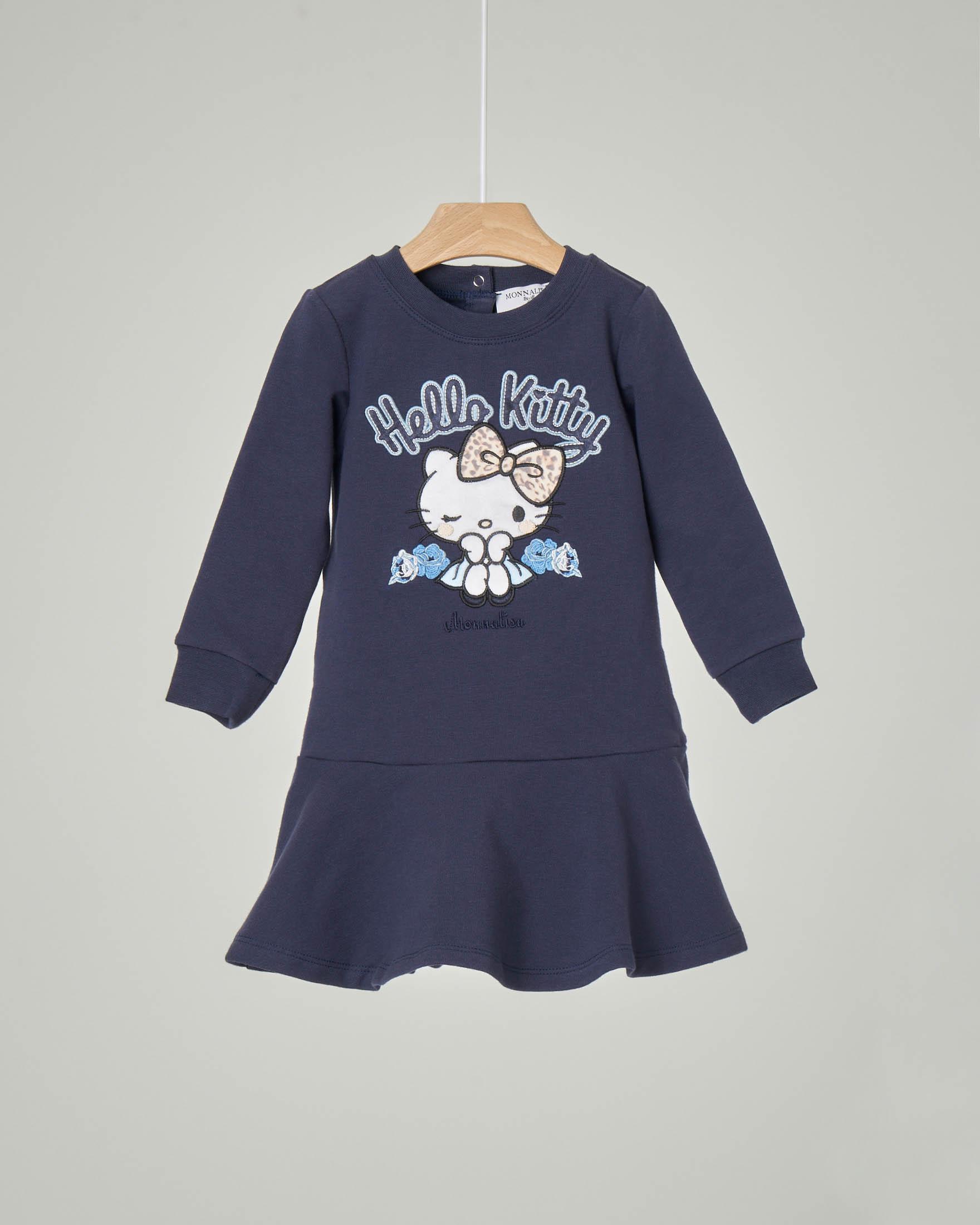 Abito blu con manica lunga in cotone elasticizzato con balza sul fondo e ricamo disegno Hello Kitty 12-36 mesi