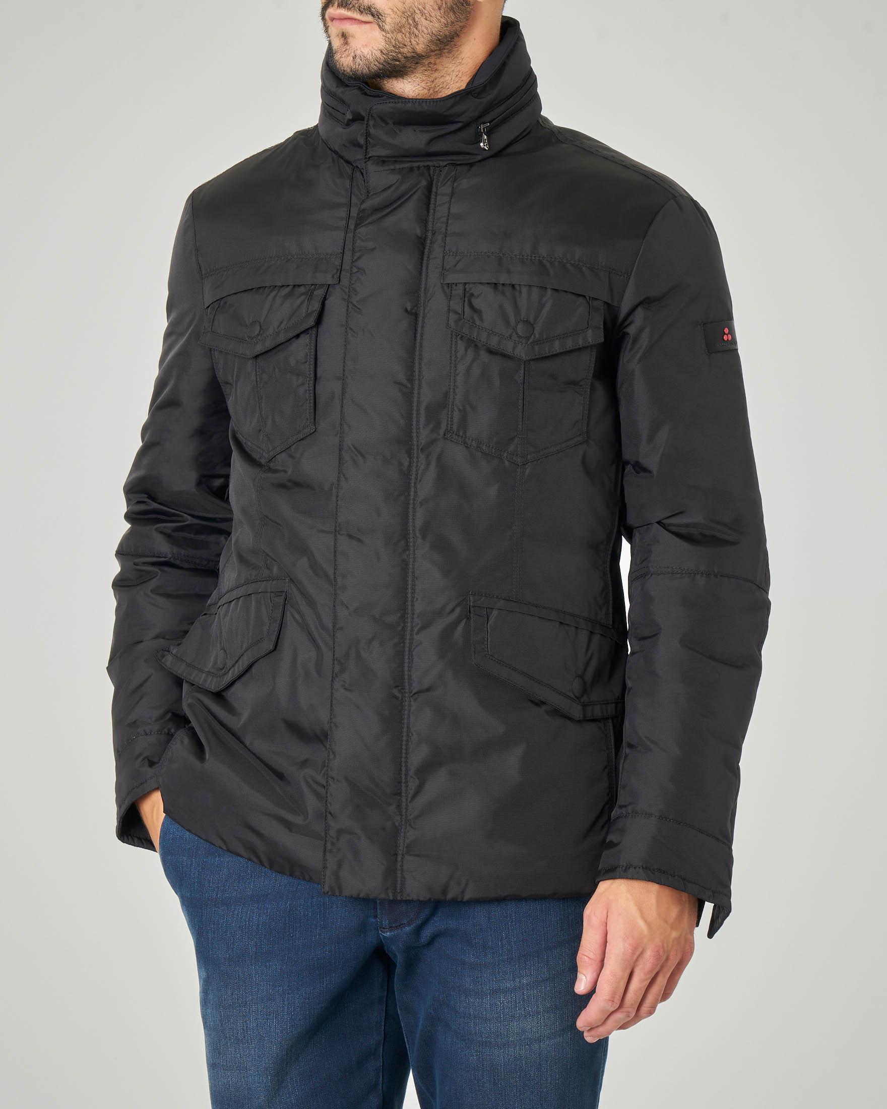 Field Jacket Stripes nera in tessuto oxford tecnico