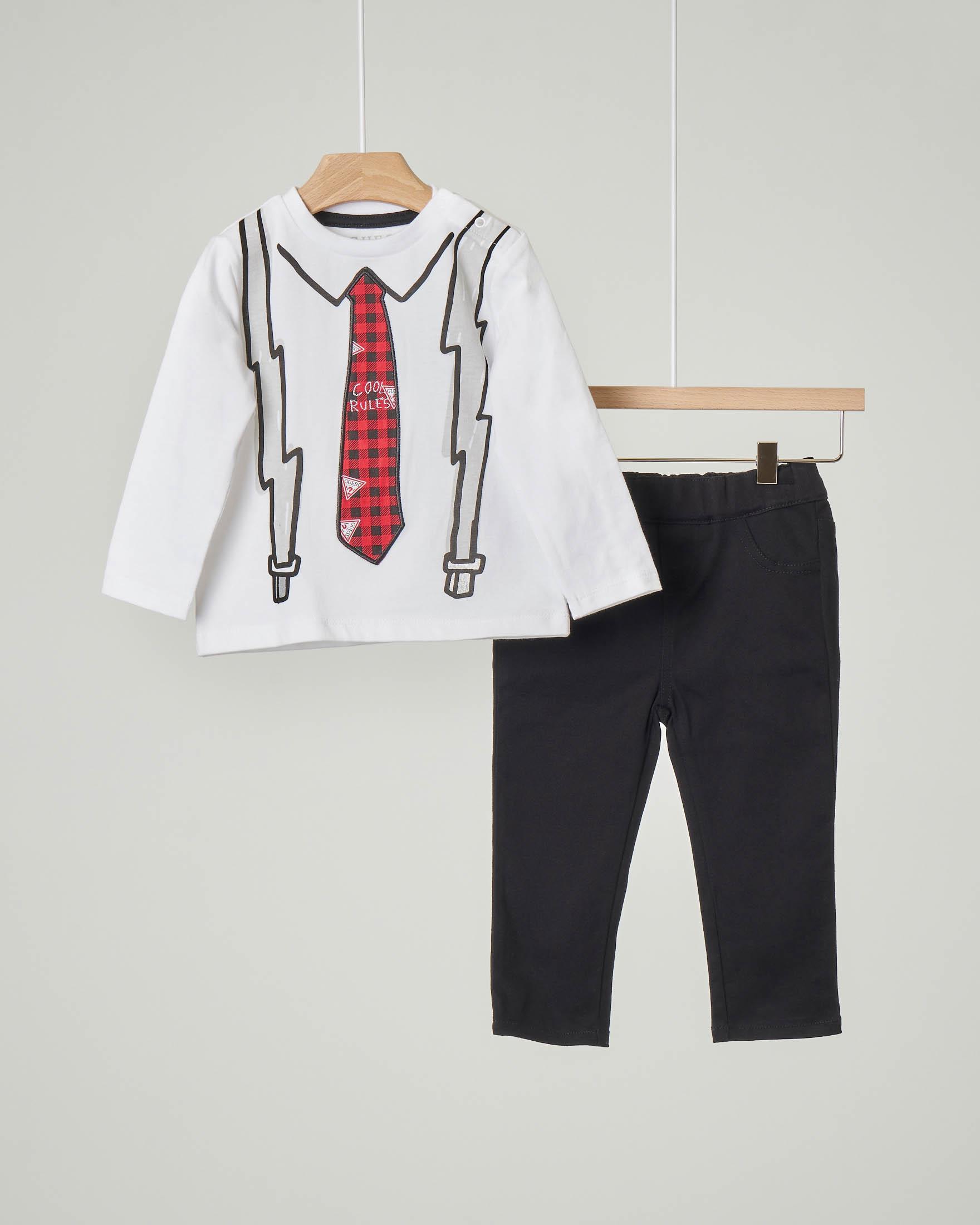 Completo t-shirt bianca manica lunga con stampa cravatta e bretelle e pantaloni neri con elastico in vita 9-24 mesi