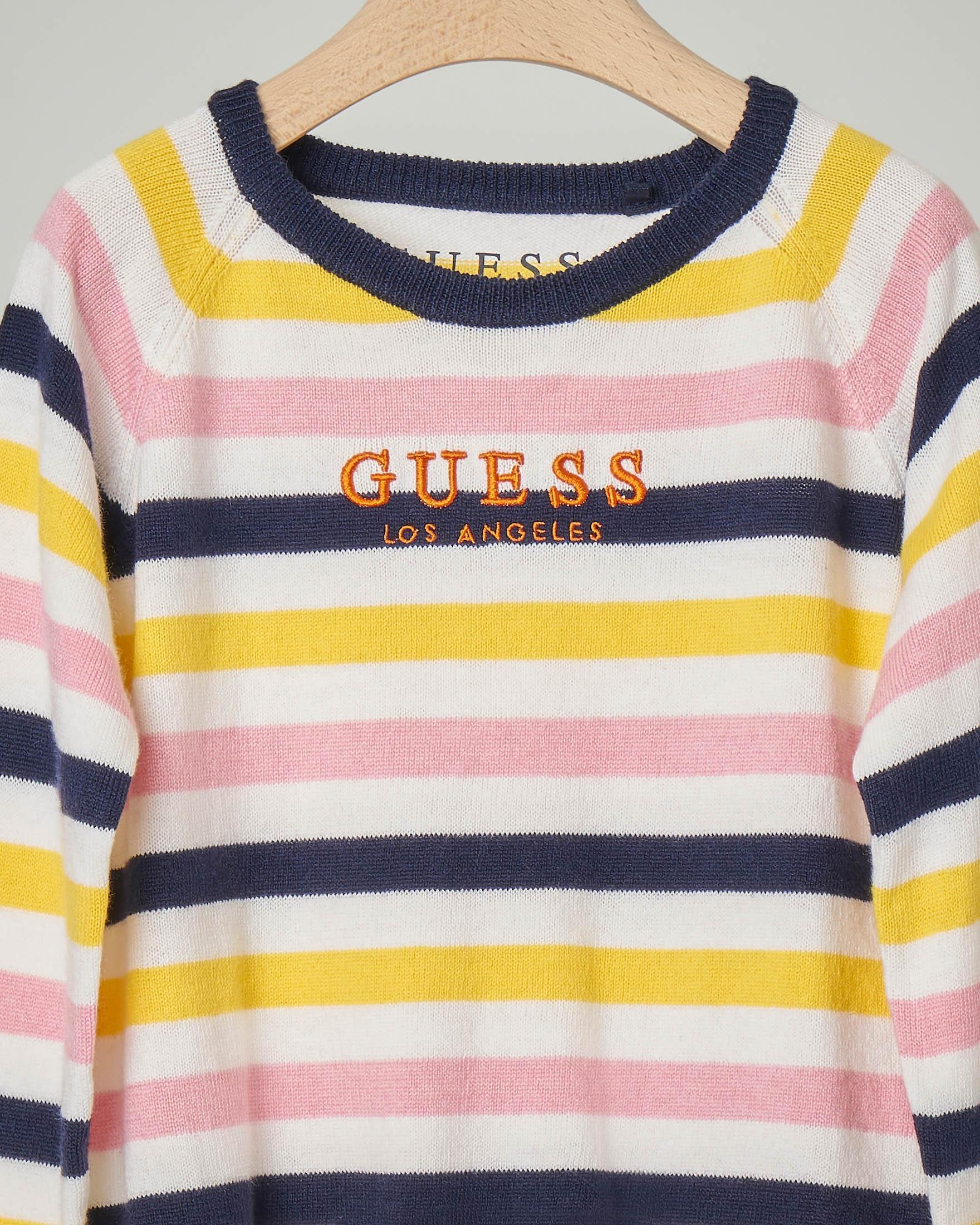Maglia girocollo in misto lana con motivo a righe multicolor e scritta logo 3-7 anni