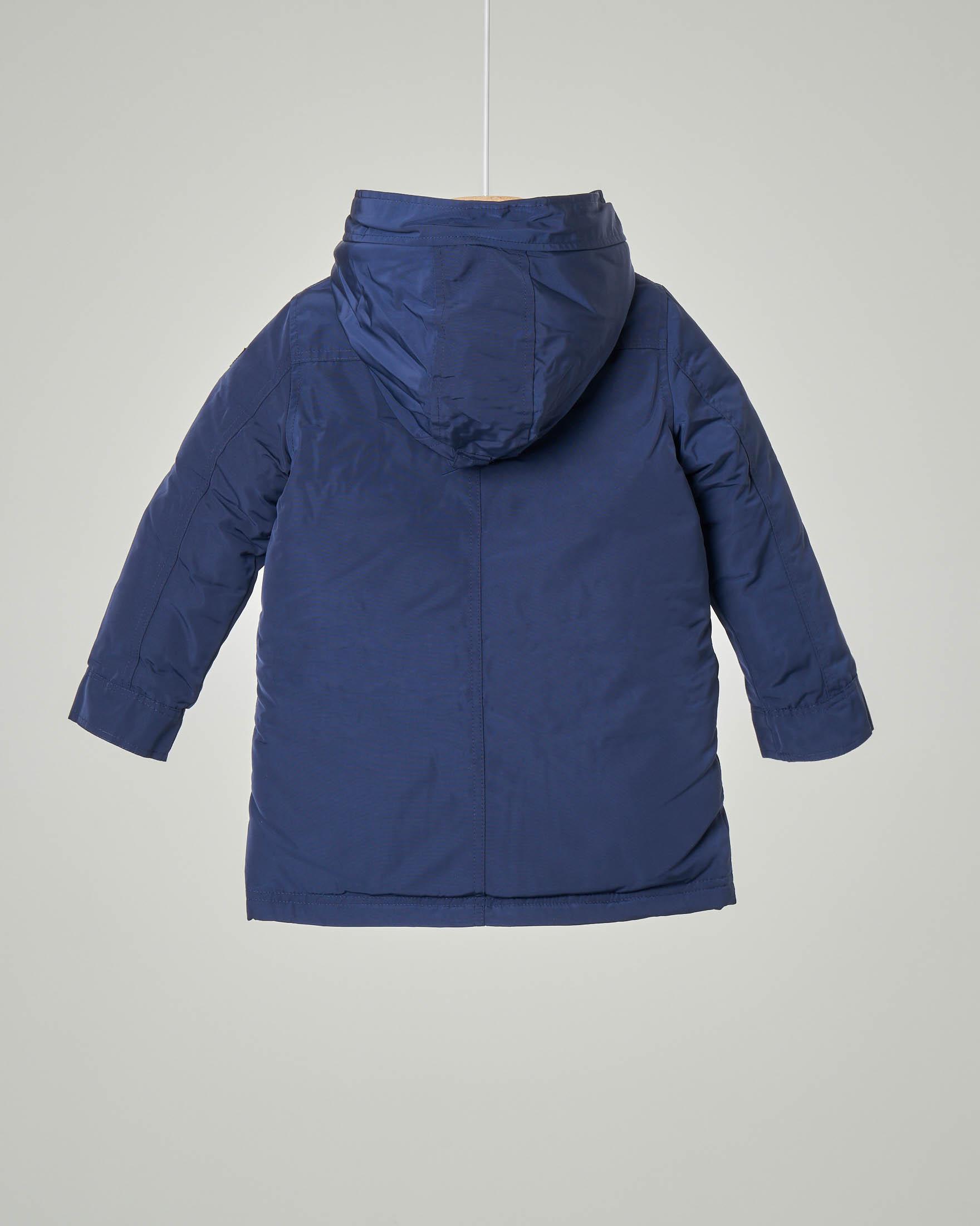 Parka blu imbottito in piuma con cappuccio fisso 3-7 anni