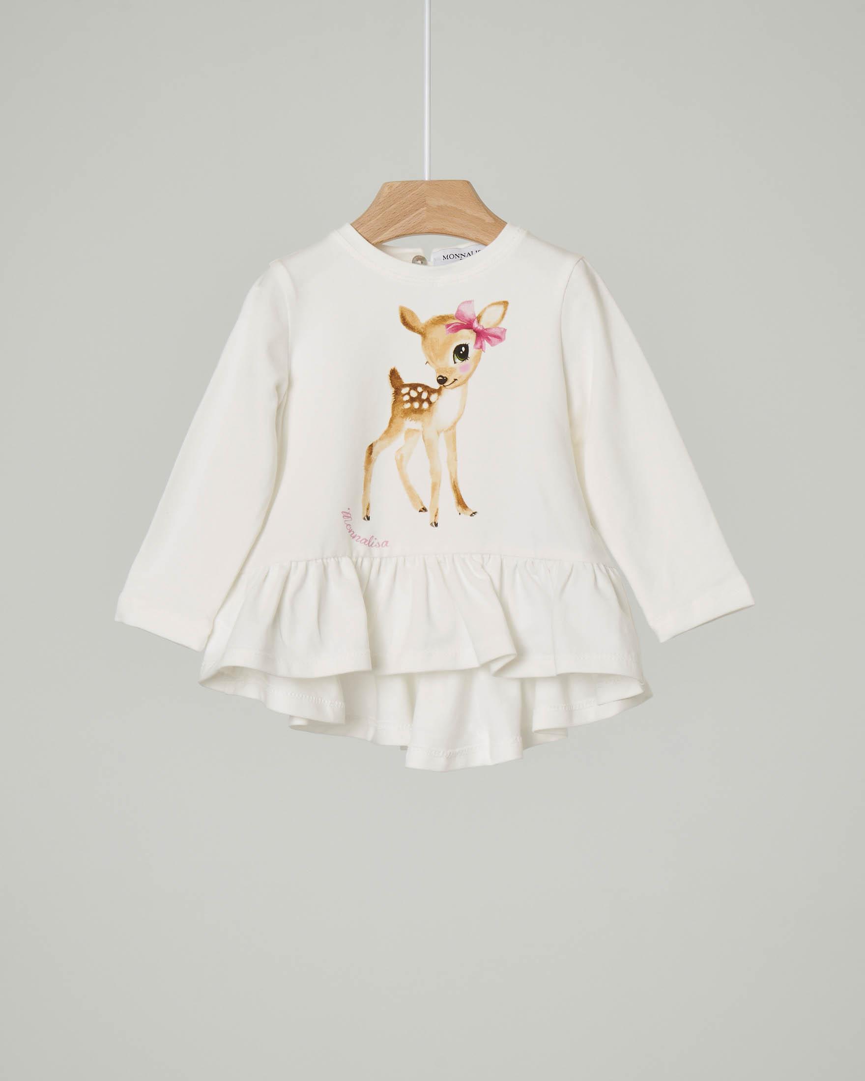 T-shirt avorio con manica lunga e stampa cerbiatto e scritta logo sul davanti 9-24 mesi