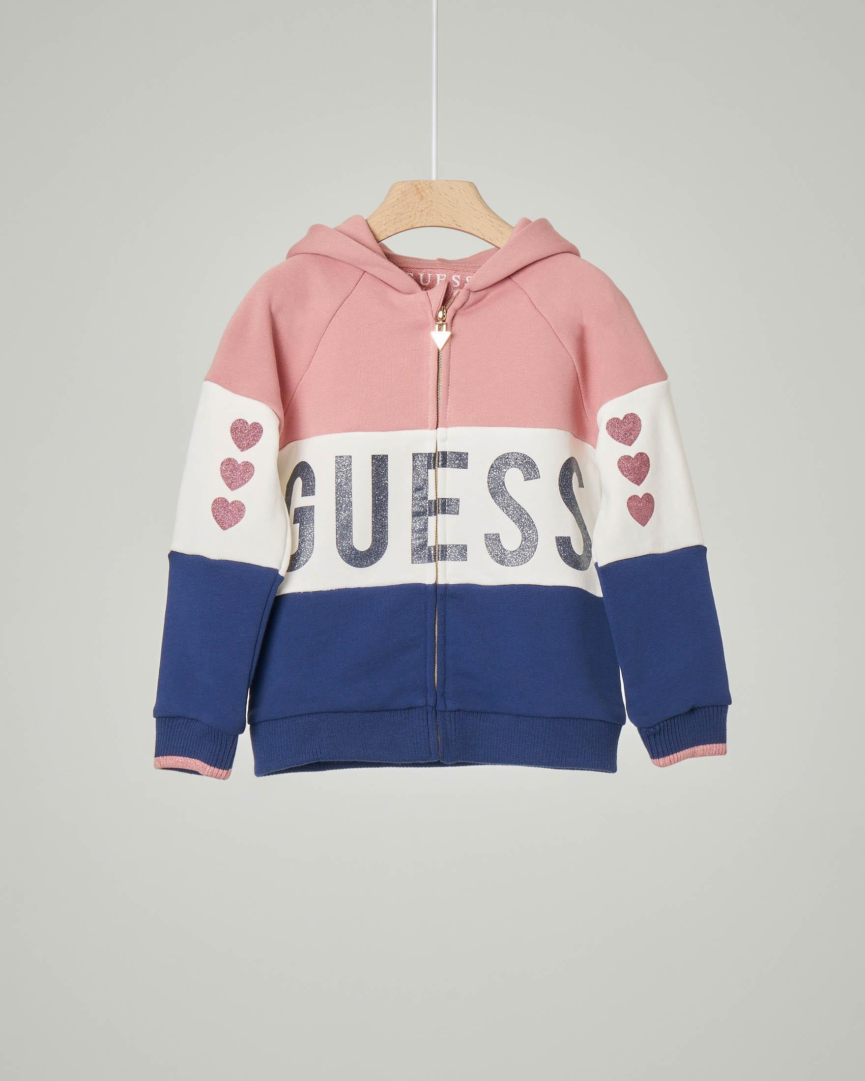 Felpa in jersey di cotone a blocchi di colore bianco, blu e rosa con cappuccio 2-7 anni