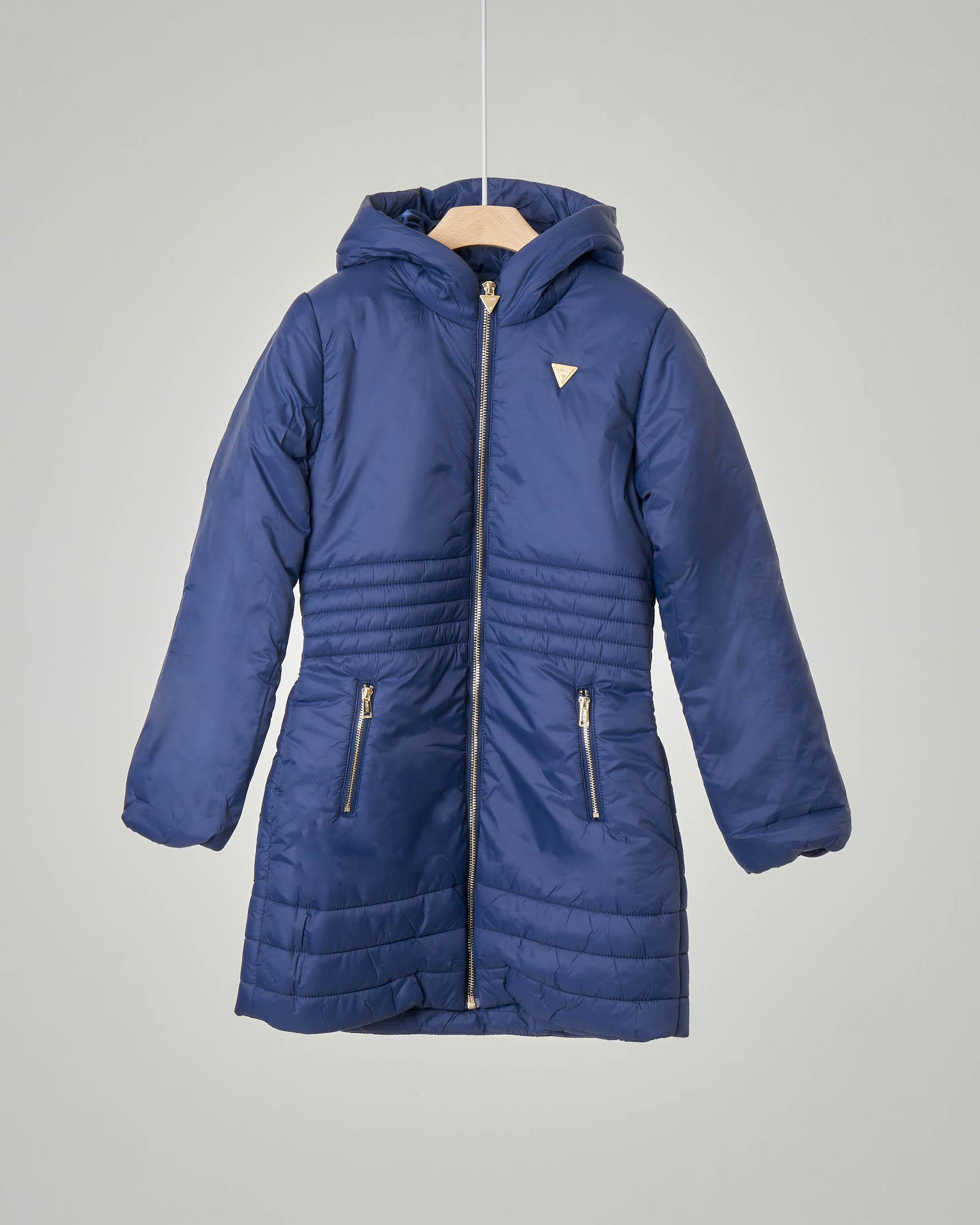 Cappotto blu lungo con cappuccio fisso 8-16 anni