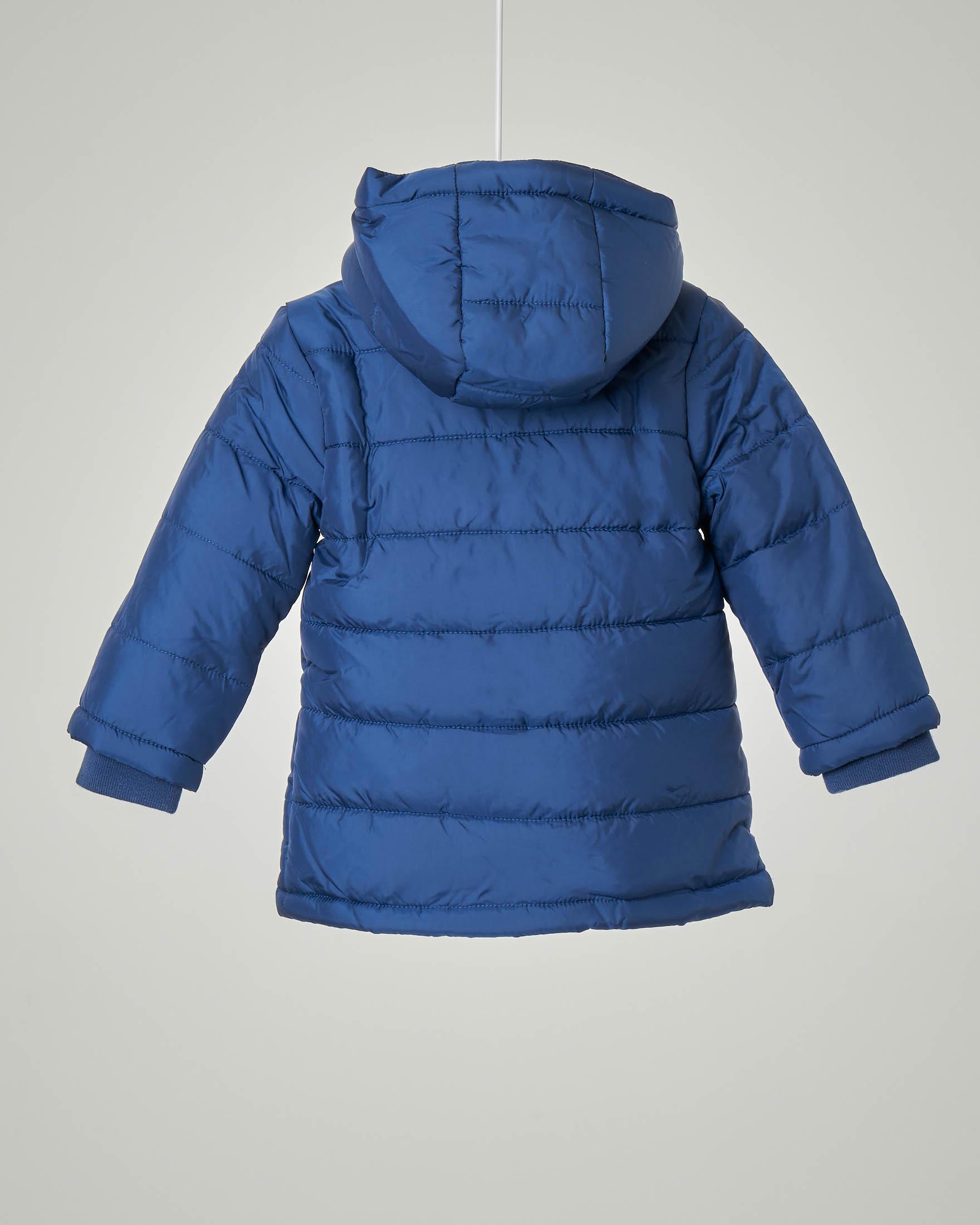 Piumino blu con cappuccio staccabile e collo alto e polsini a costine 9-24 mesi