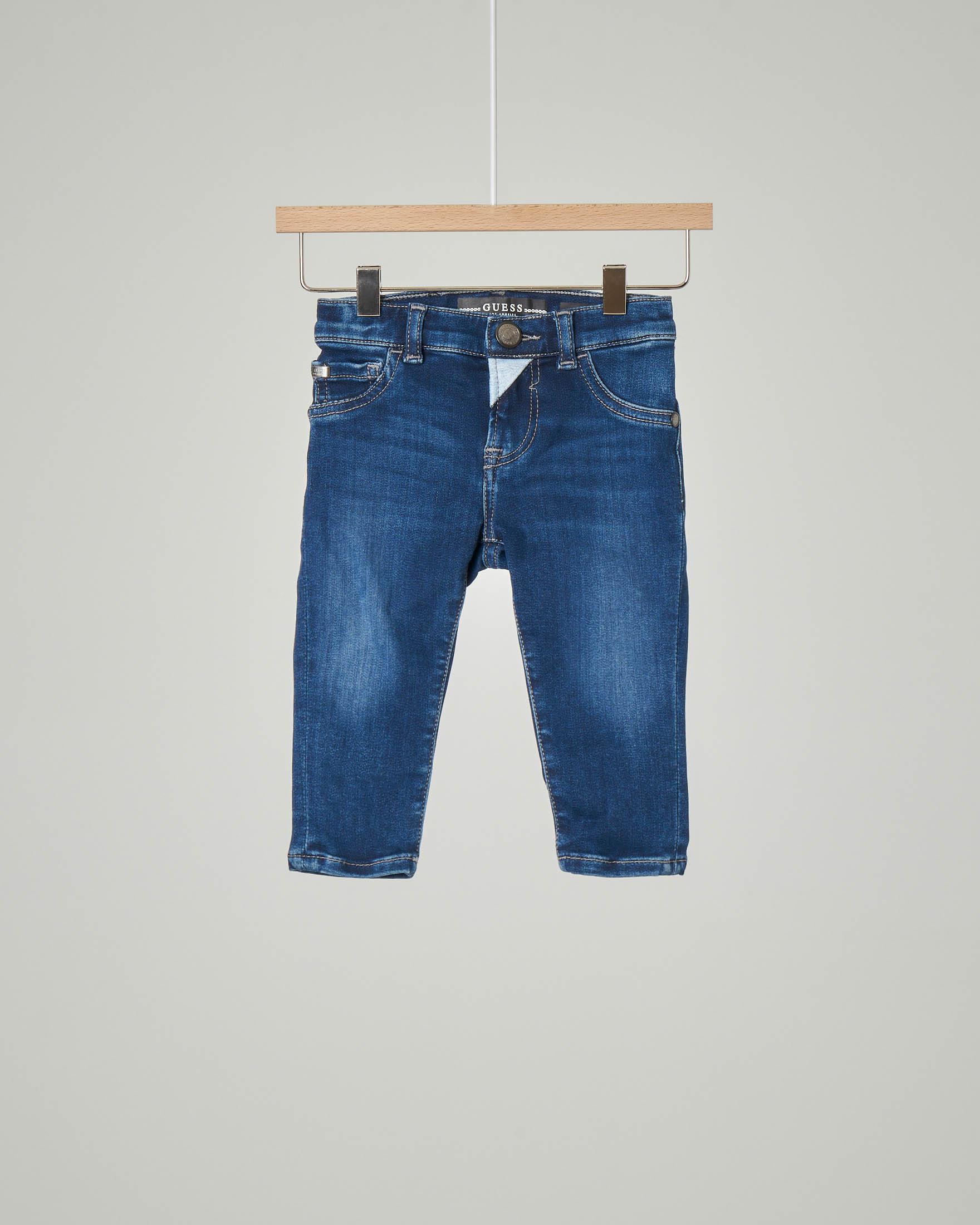 Jeans cinque tasche blu in cotone elasticizzato con salpa a contrasto 9-24 mesi